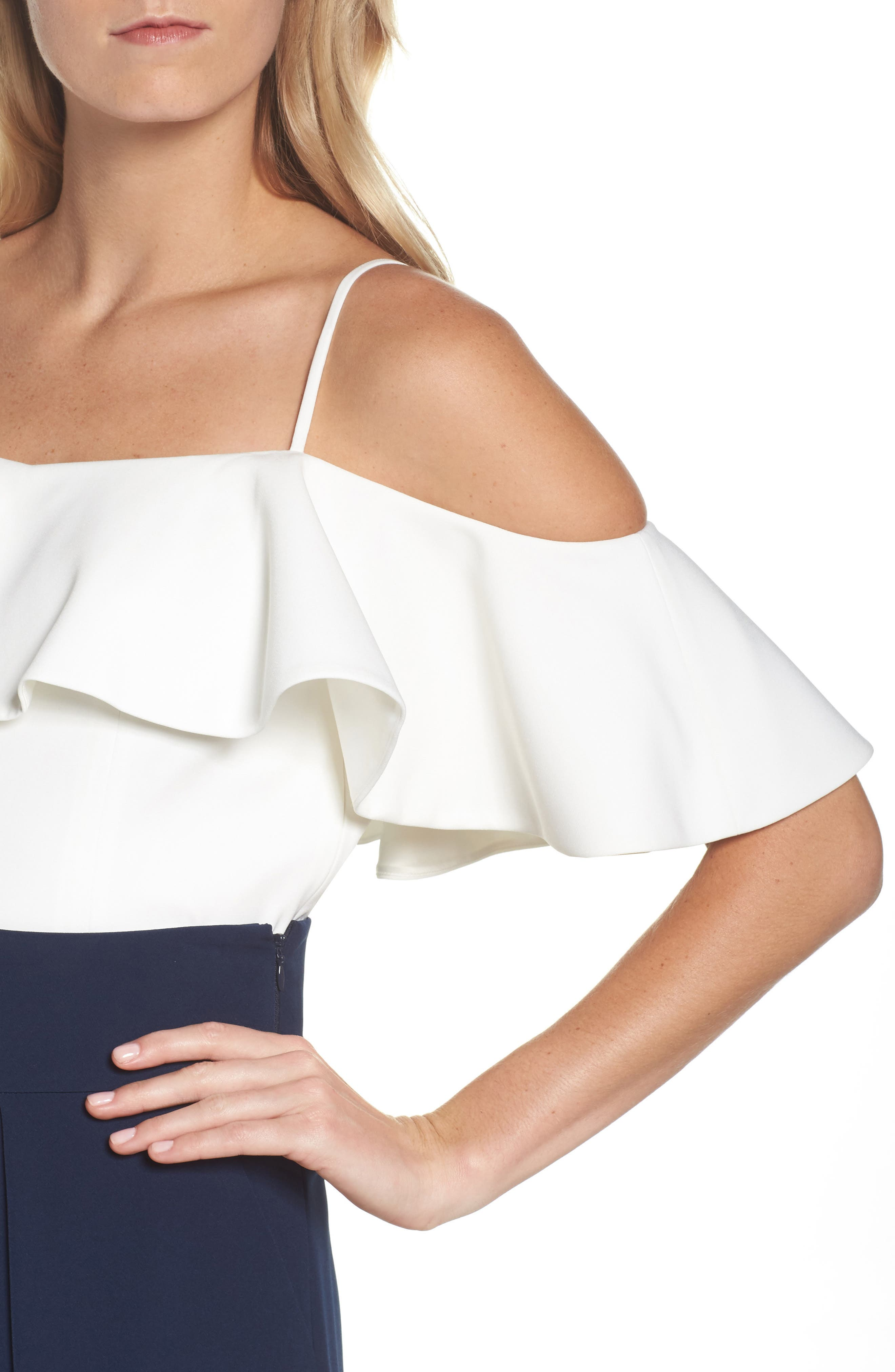 Ruffled Cold Shoulder Top,                             Alternate thumbnail 9, color,                             Ivory