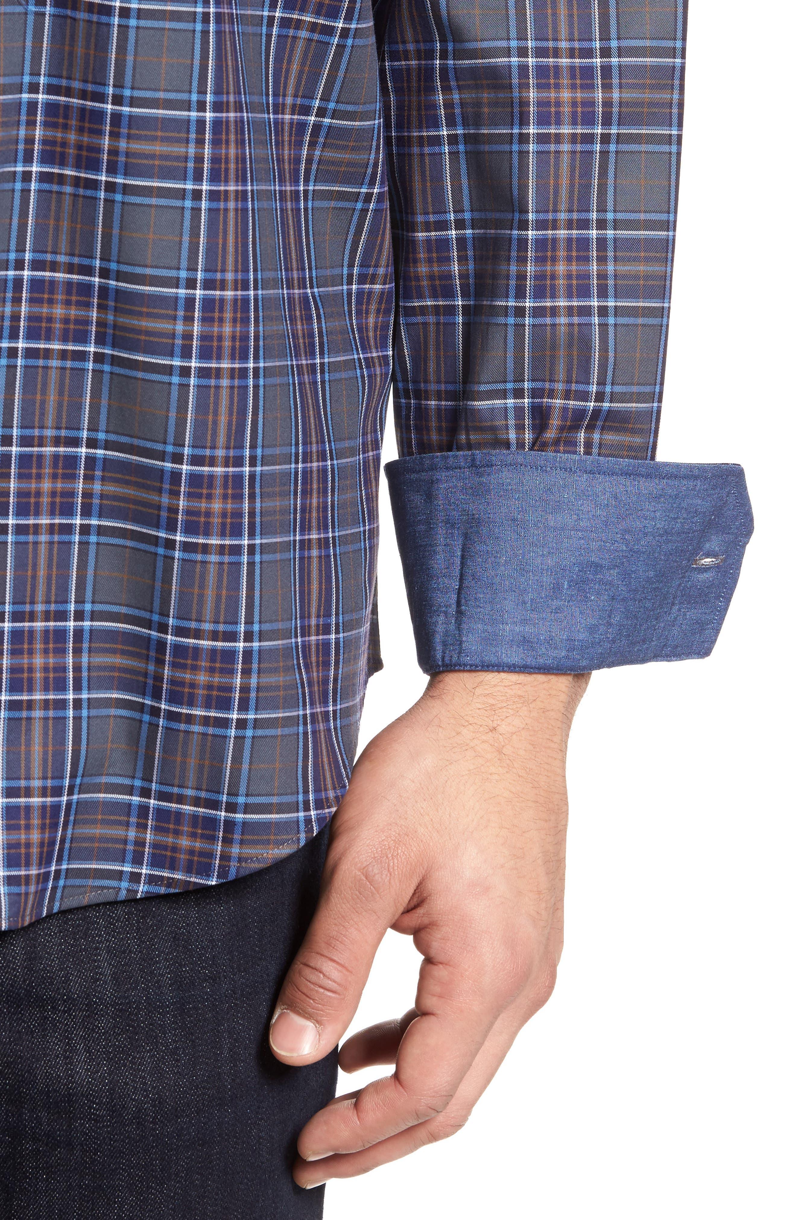 Shaped Fit Plaid Sport Shirt,                             Alternate thumbnail 4, color,                             Graphite
