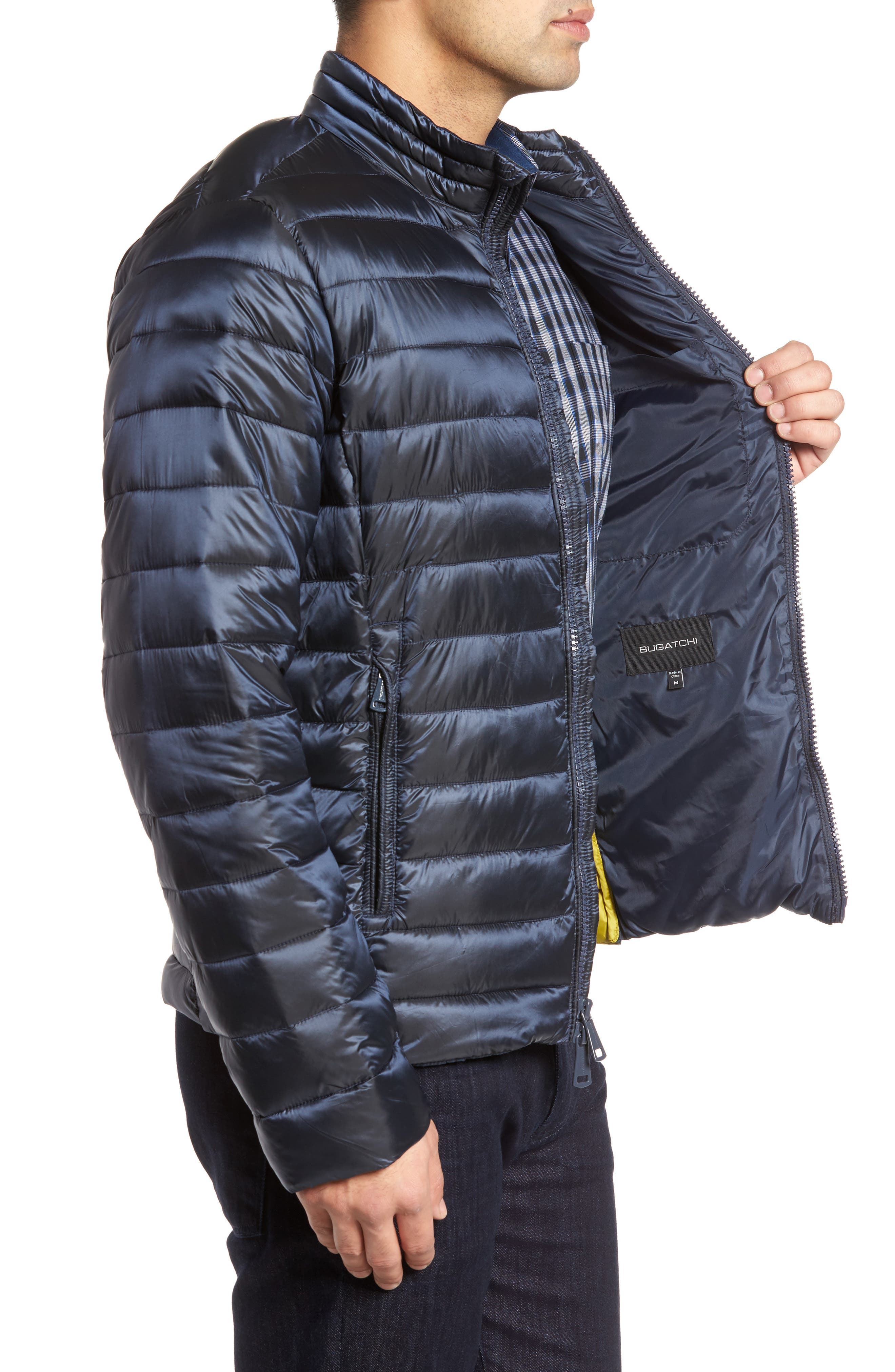 Channel Quilted Jacket,                             Alternate thumbnail 3, color,                             Navy