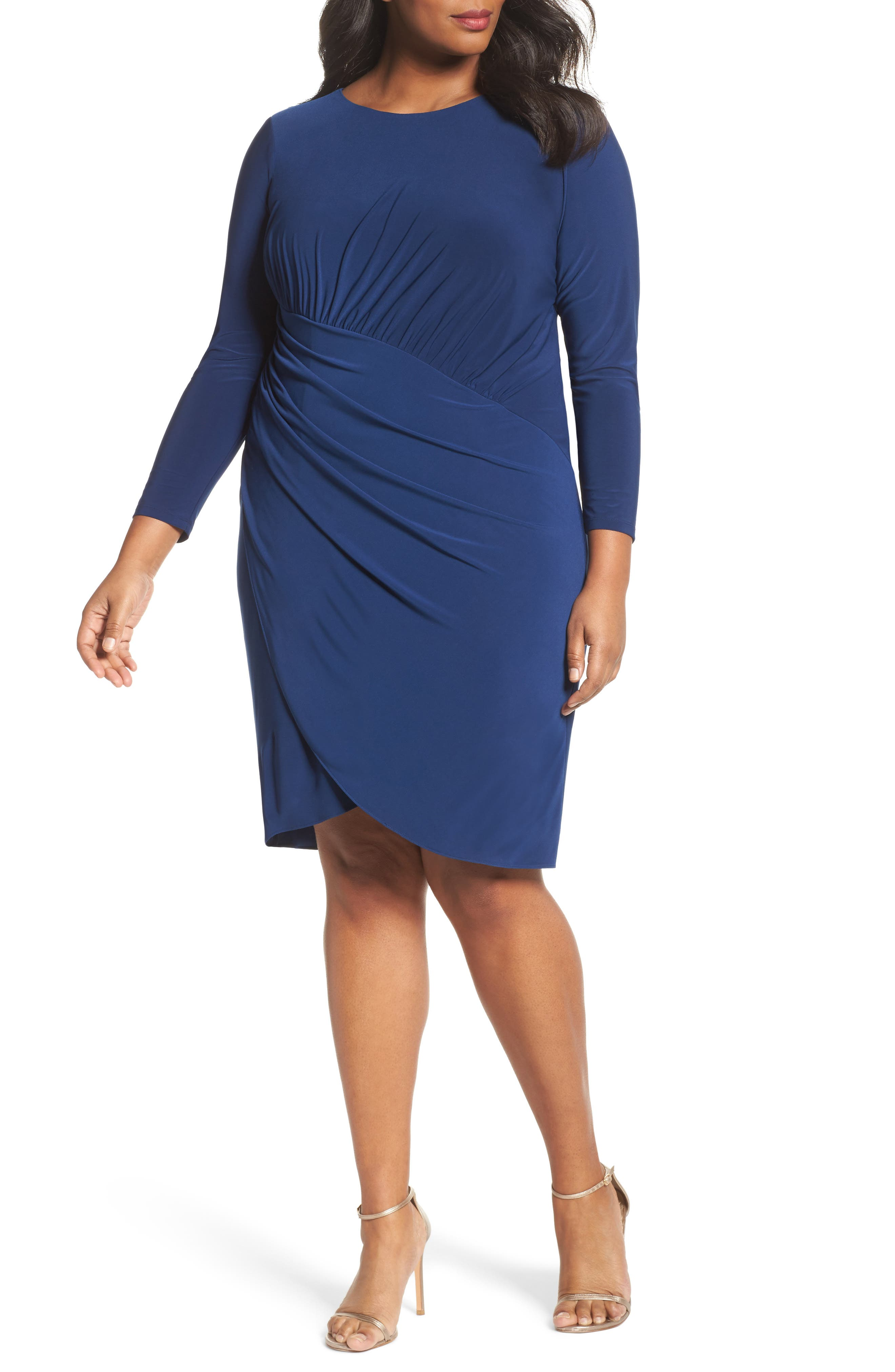 Faux Wrap Jersey Dress,                         Main,                         color, Navy Sateen