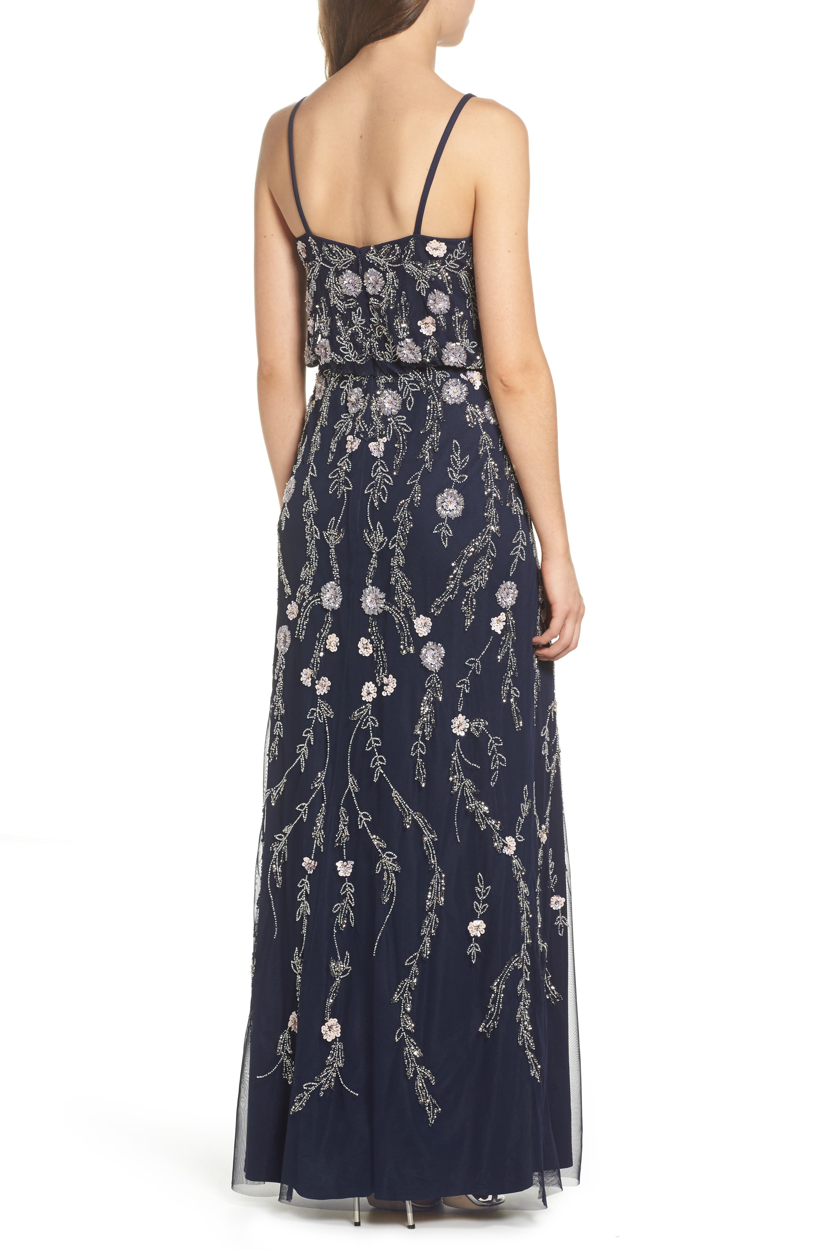 Alternate Image 2  - Adrianna Papell Mesh Blouson Gown (Regular & Petite)