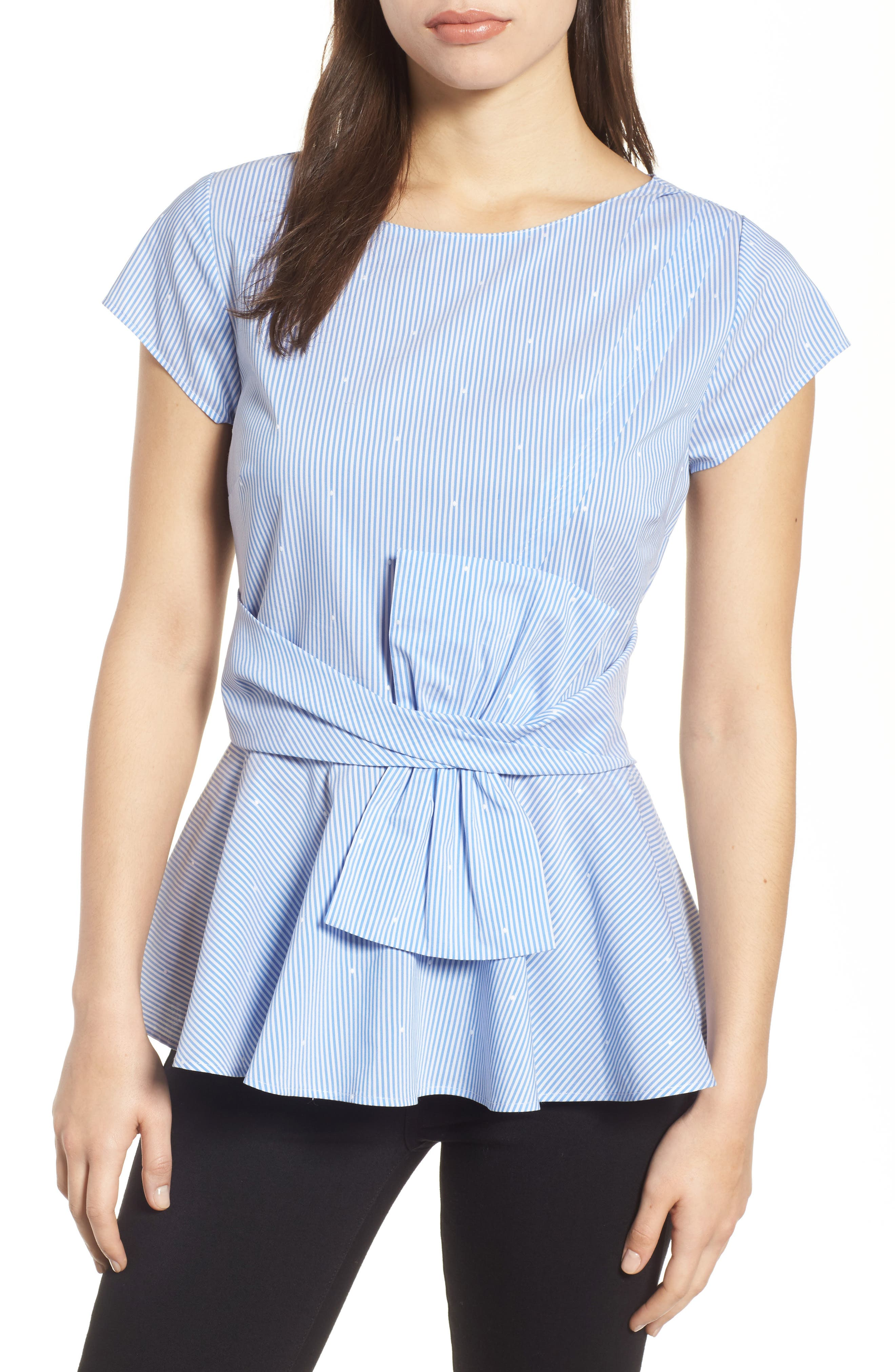 Bow Detail Peplum Top,                             Main thumbnail 1, color,                             Blue- White Stripe Dot