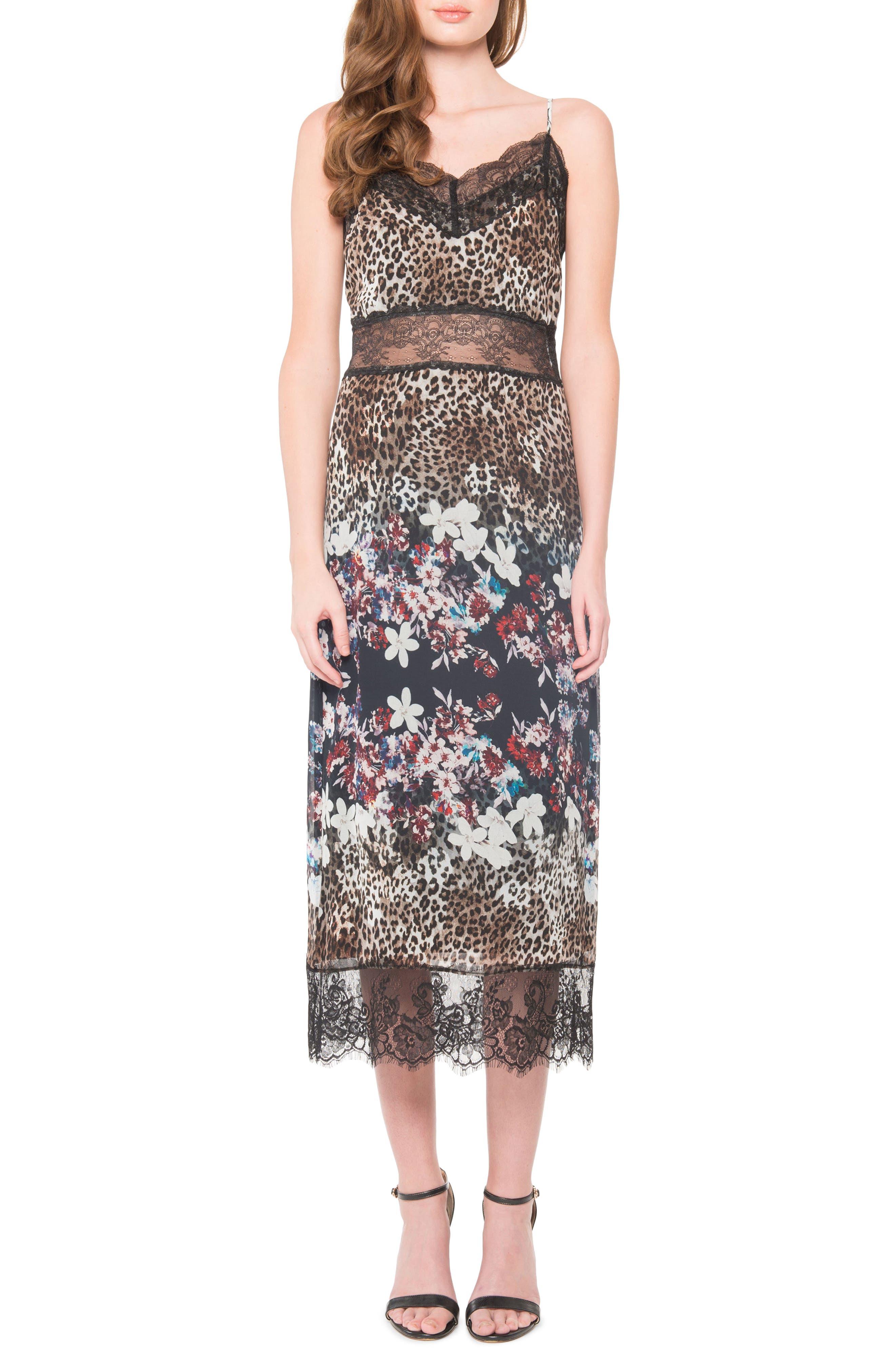 Lace Midi Dress,                             Main thumbnail 1, color,                             Black