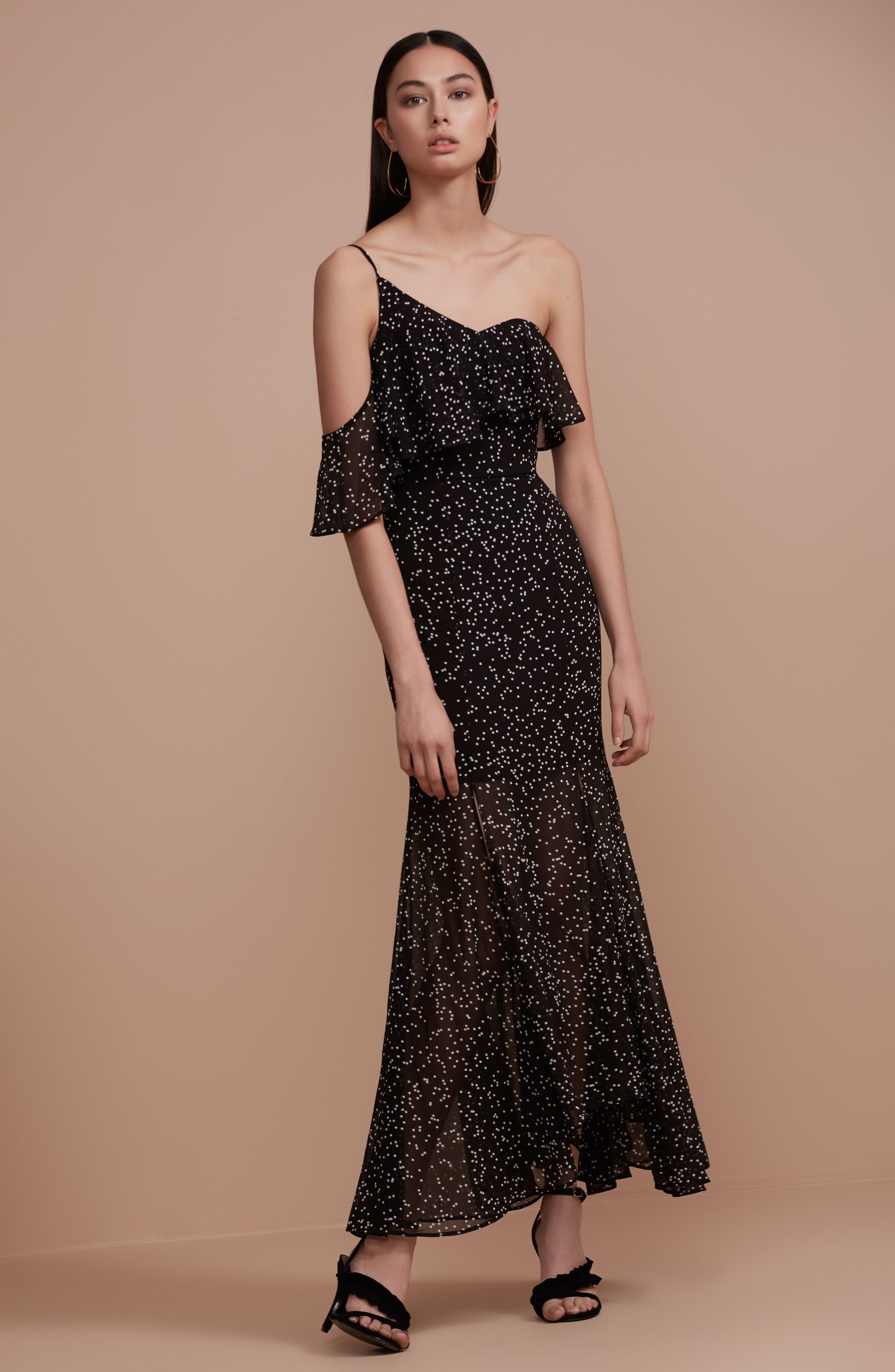 Embrace One Shoulder Dress,                             Alternate thumbnail 2, color,                             Black W White Spot