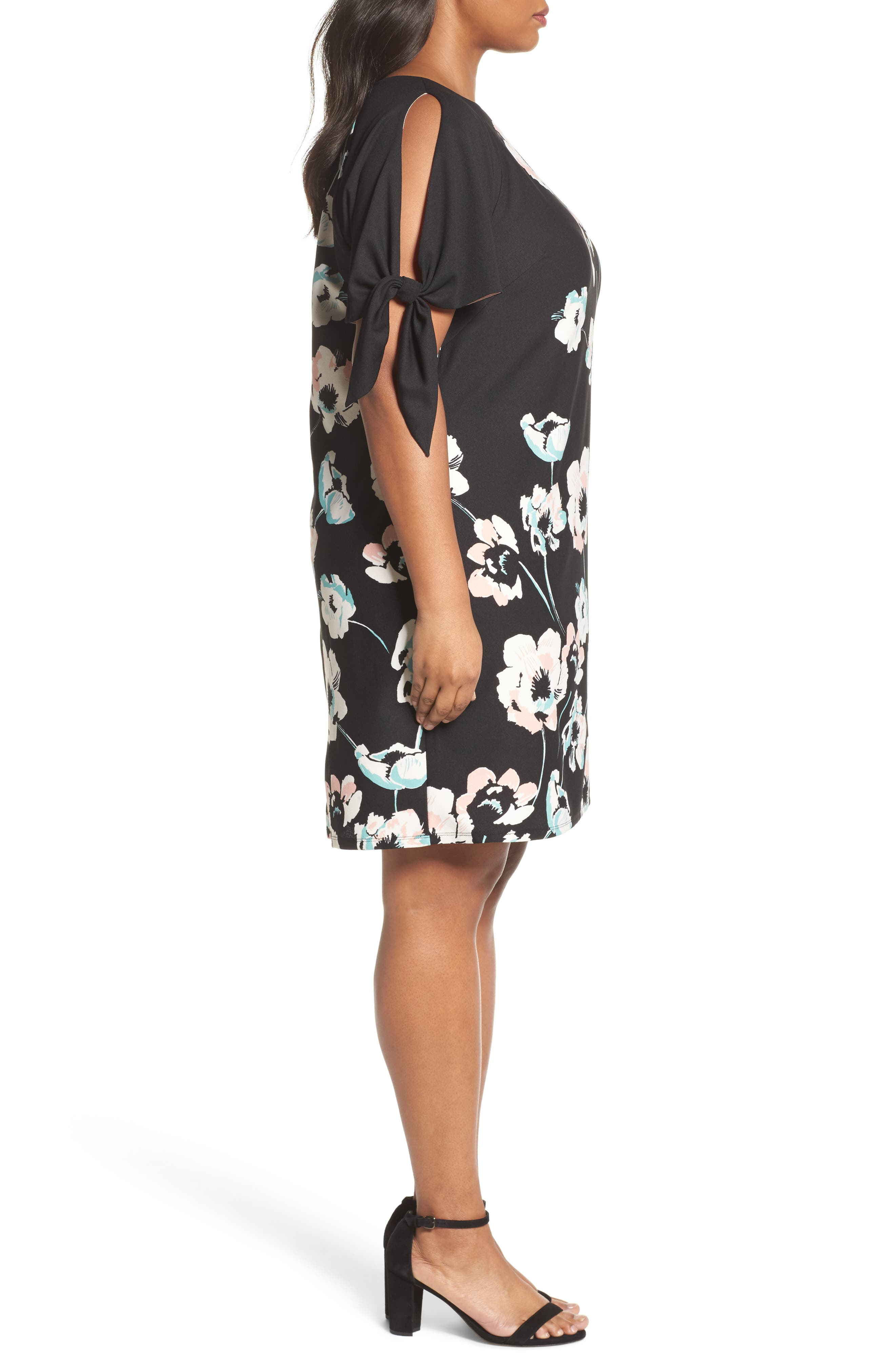 Alternate Image 3  - Vince Camuto Slit Sleeve Floral Shift Dress (Plus Size)