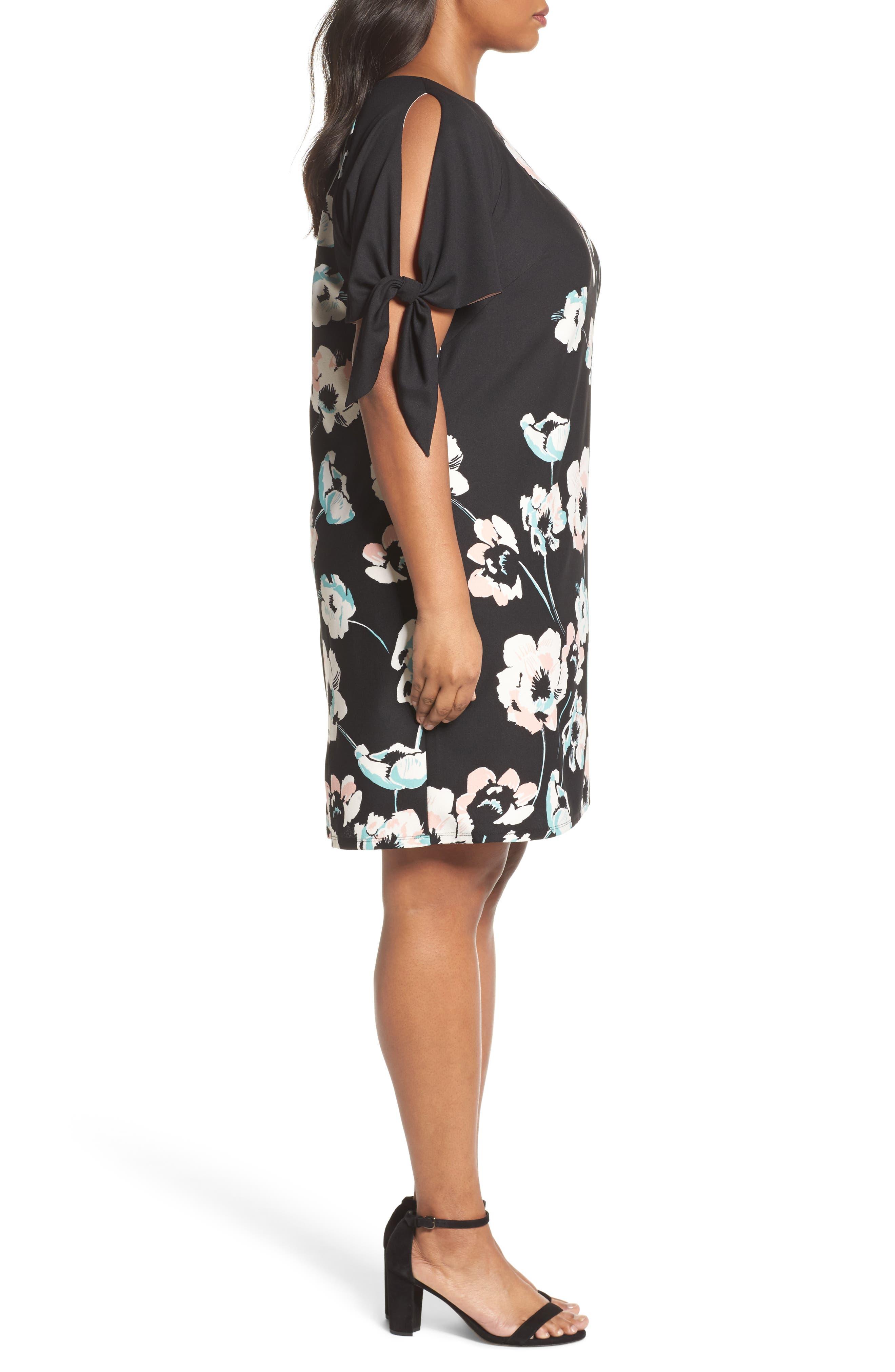 Slit Sleeve Floral Shift Dress,                             Alternate thumbnail 3, color,                             Black