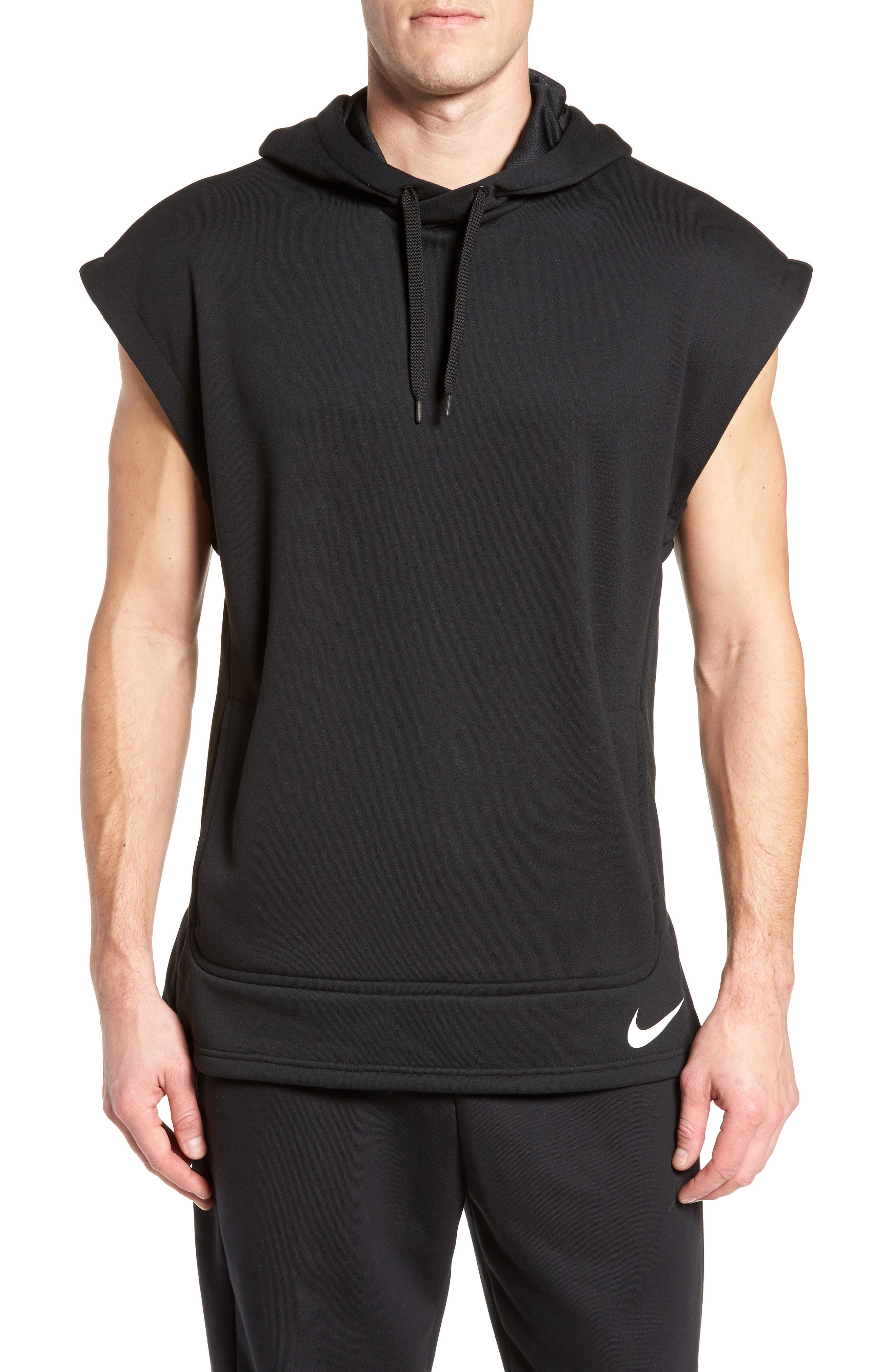 Training Dry Top PX Sleeveless Hoodie,                         Main,                         color, Black/ Black/ White