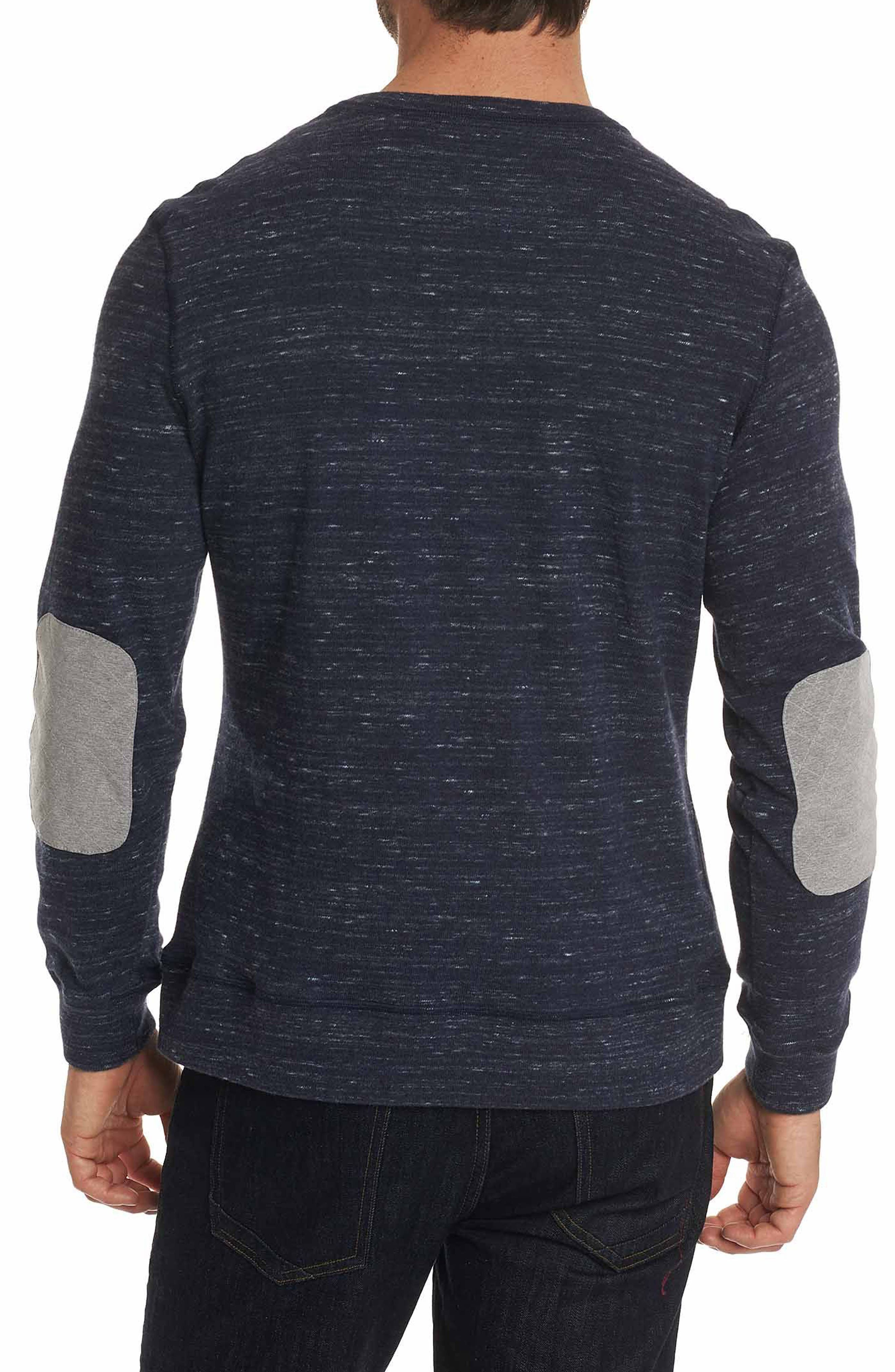 Endurance Elbow Patch Sweatshirt,                             Alternate thumbnail 2, color,                             Heather Navy