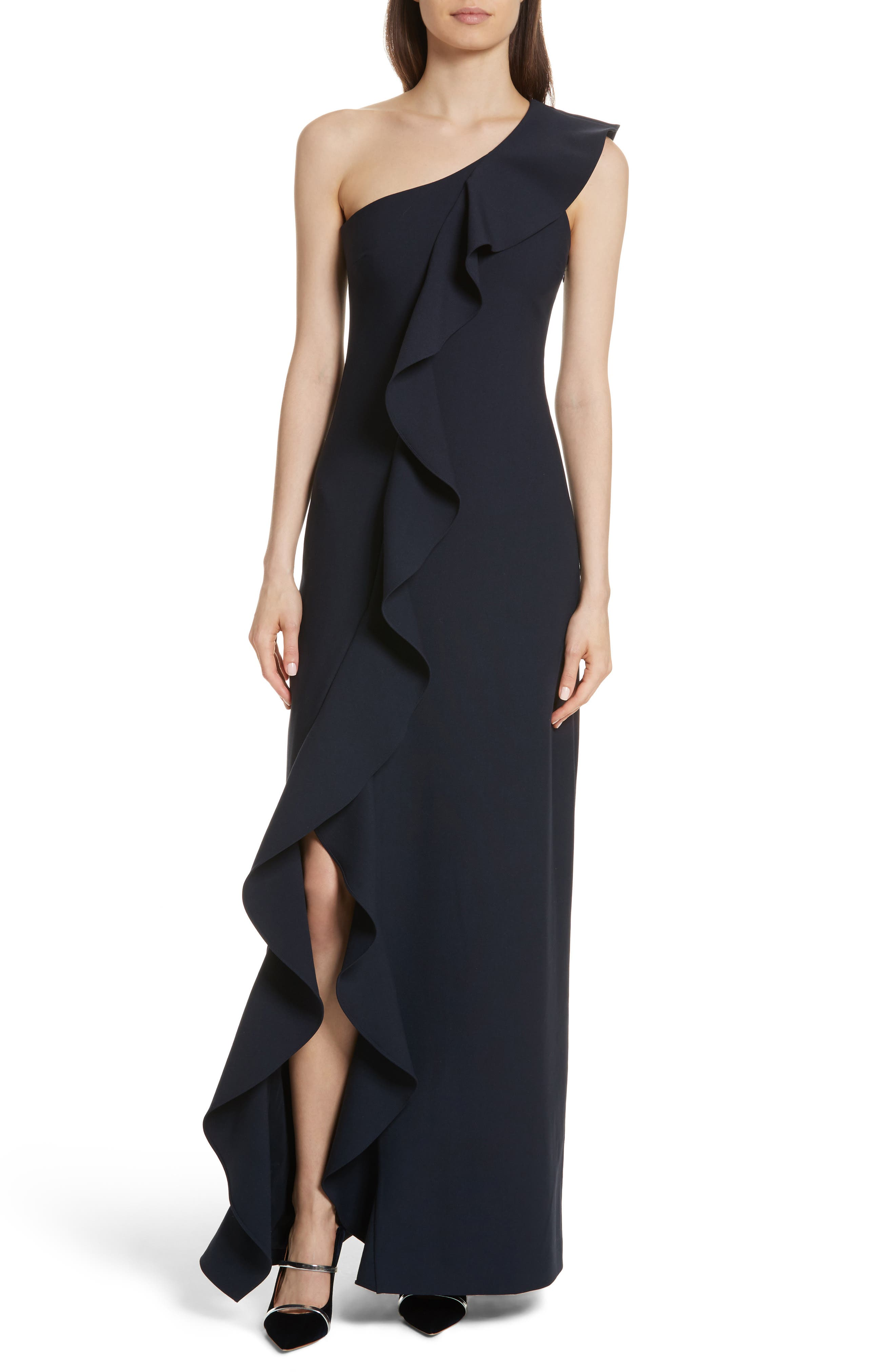 Remy One Shoulder Ruffle Gown,                         Main,                         color, Navy