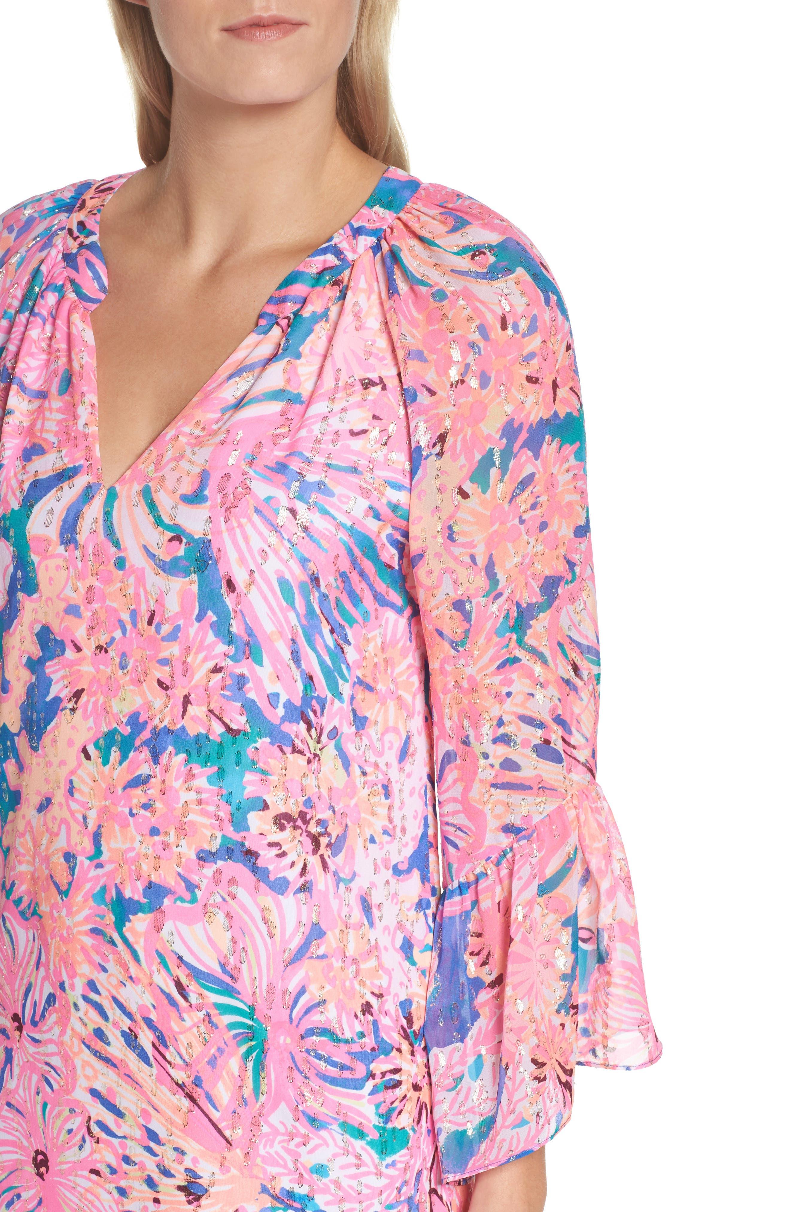 Matilda Tunic Dress,                             Alternate thumbnail 4, color,                             Multi Swirling Seadream