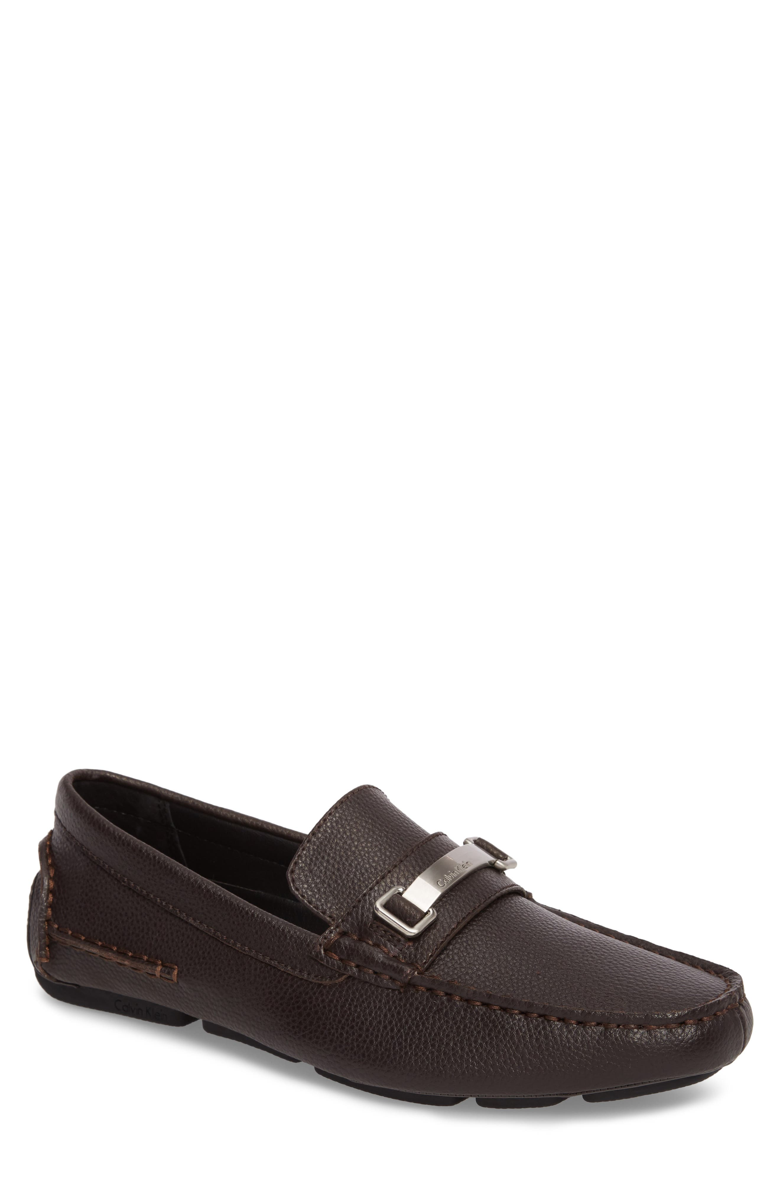 Mikos Driving Shoe,                             Main thumbnail 1, color,                             Dark Brown Leather