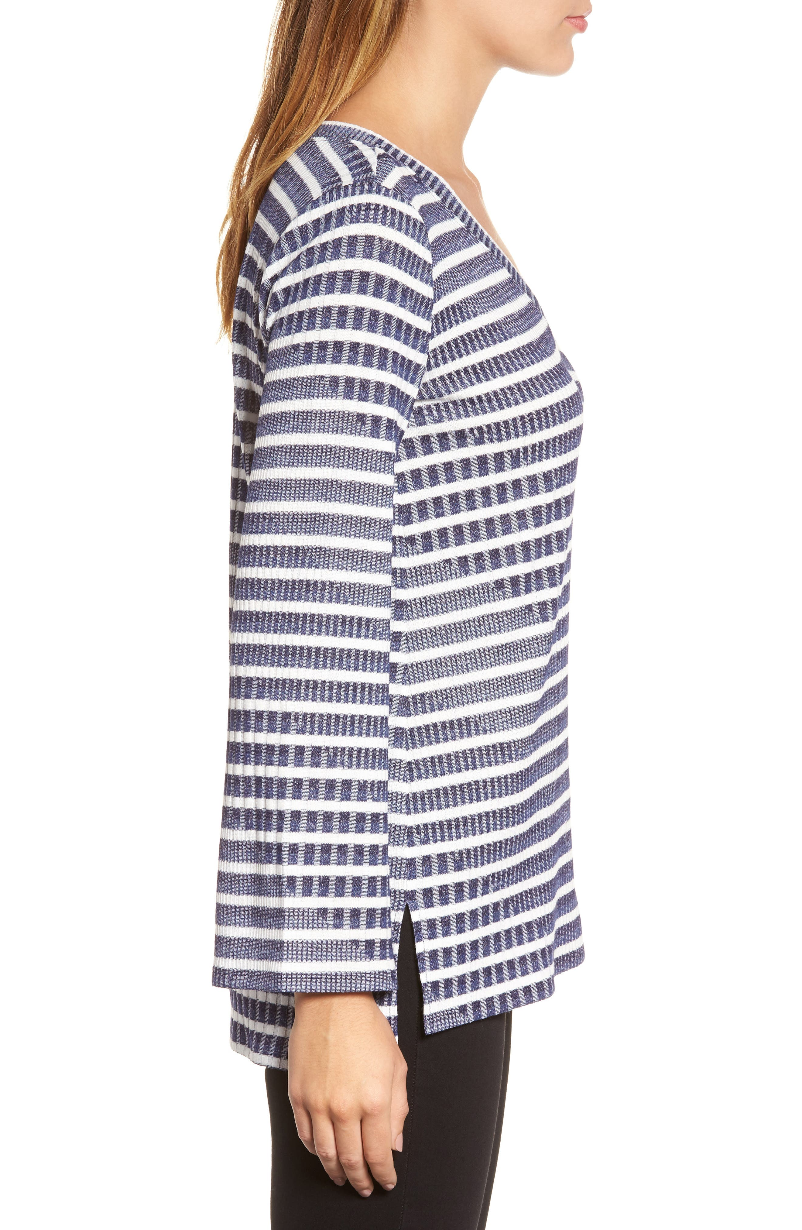 Bell Sleeve Stripe Top,                             Alternate thumbnail 3, color,                             Evening Na