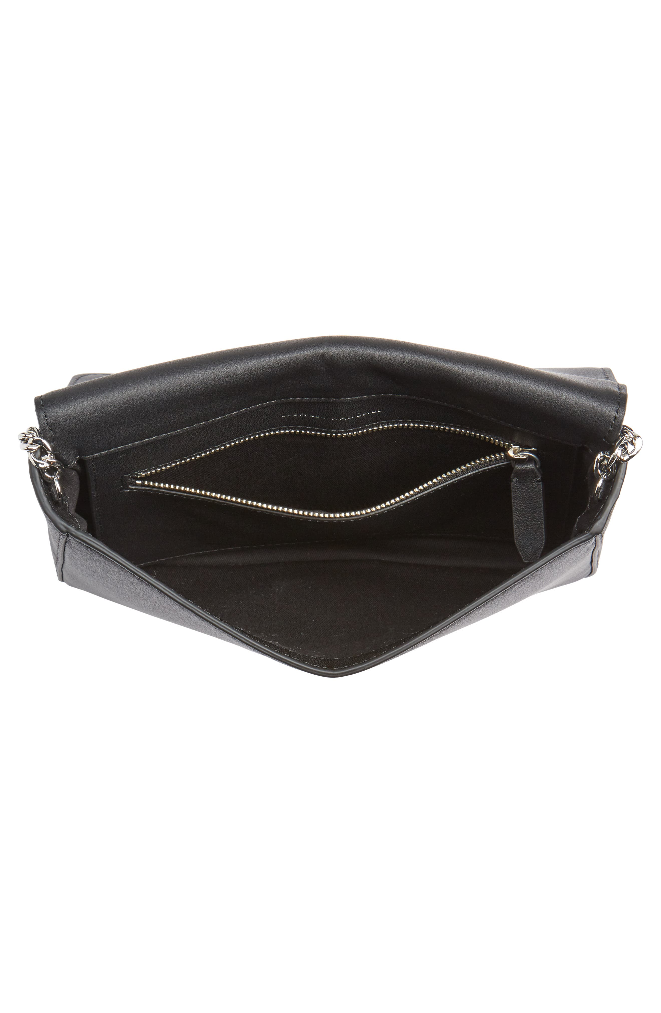 Lock Stripe Clutch/Shoulder Bag,                             Alternate thumbnail 4, color,                             White/ Eclipse