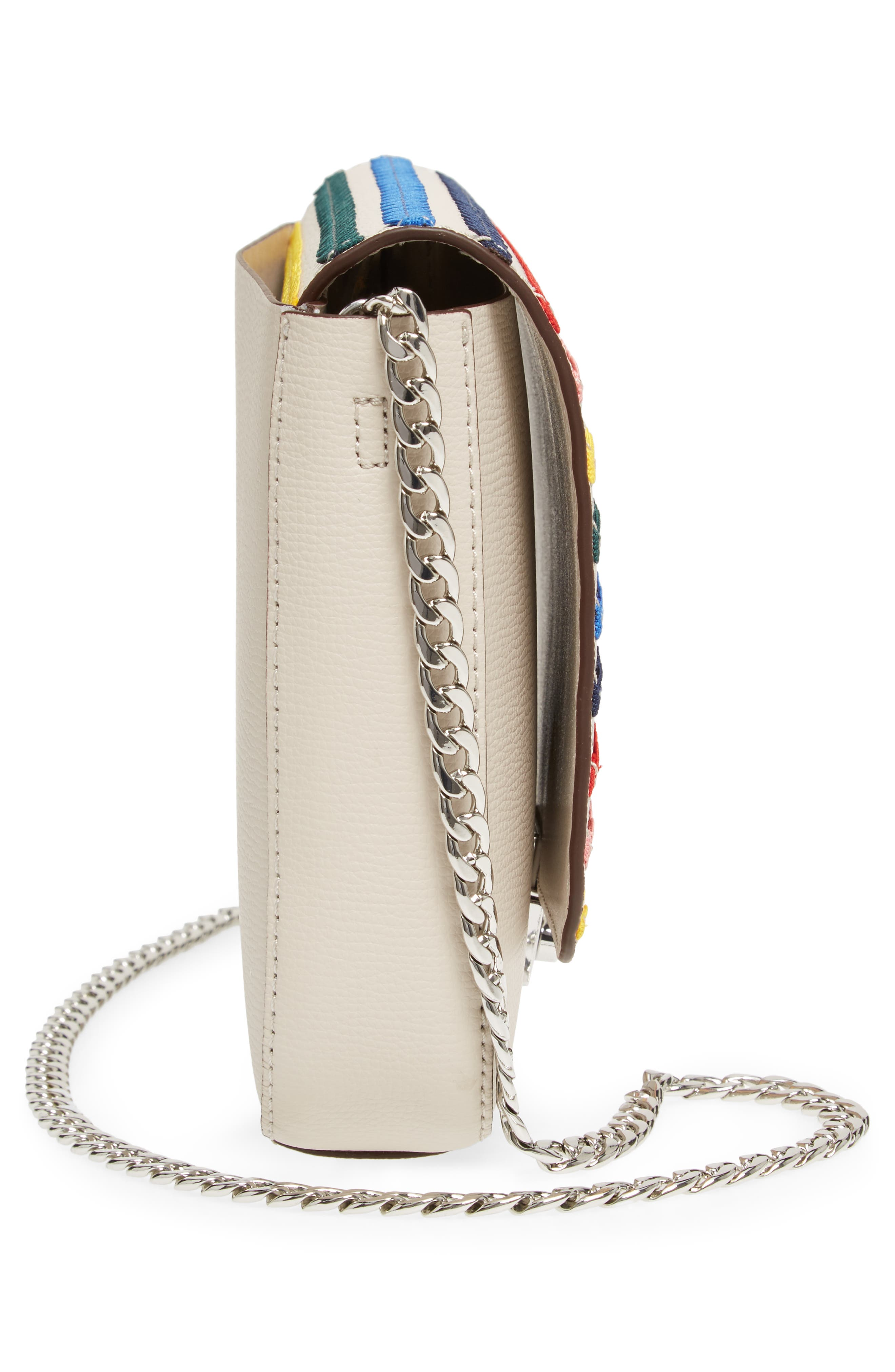 Lock Leather Flap Clutch/Shoulder Bag,                             Alternate thumbnail 5, color,                             Stone/ Rainbow