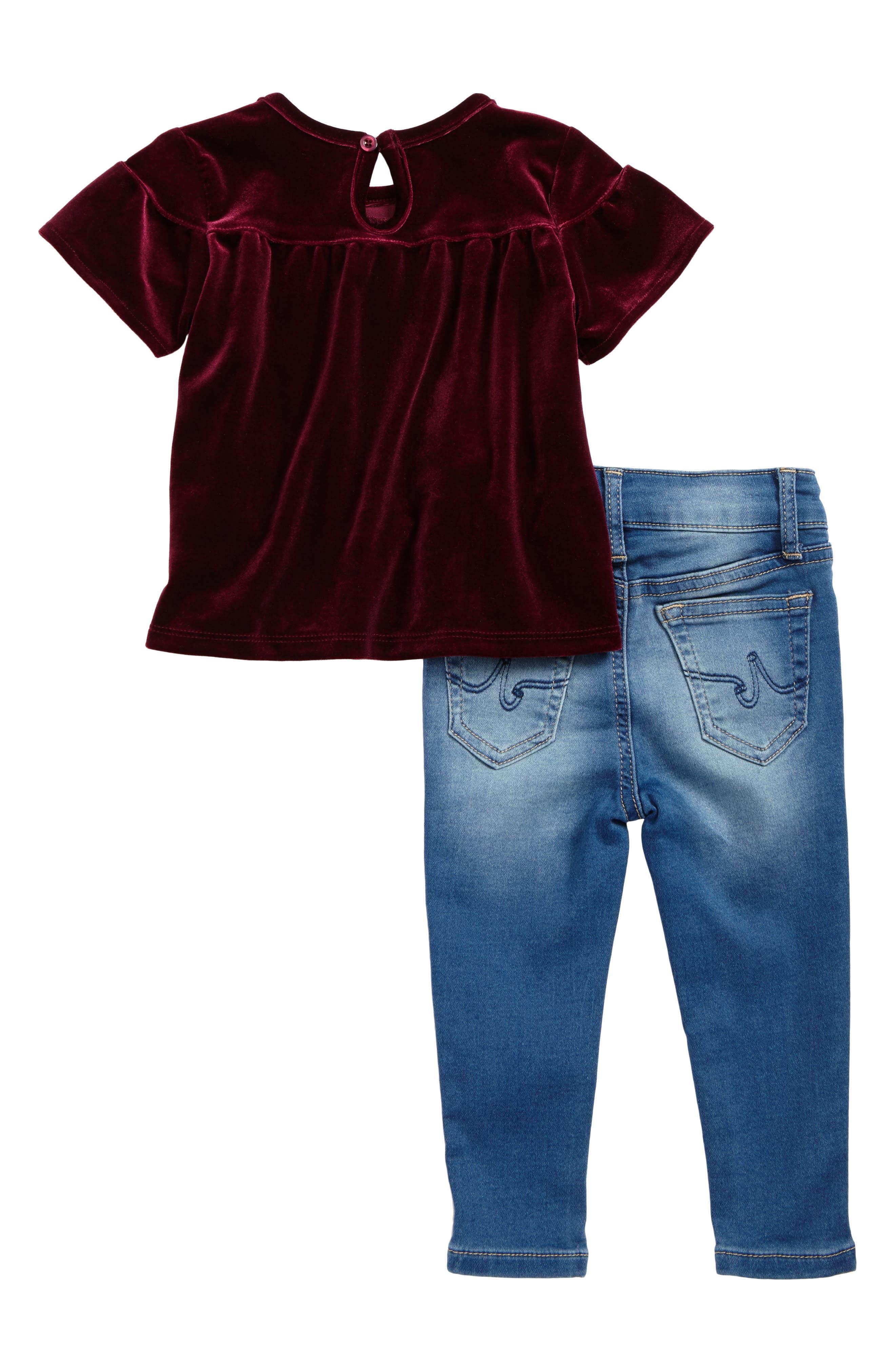 Velvet Top & Knit Jeans Set,                             Alternate thumbnail 2, color,                             Vintage Sky