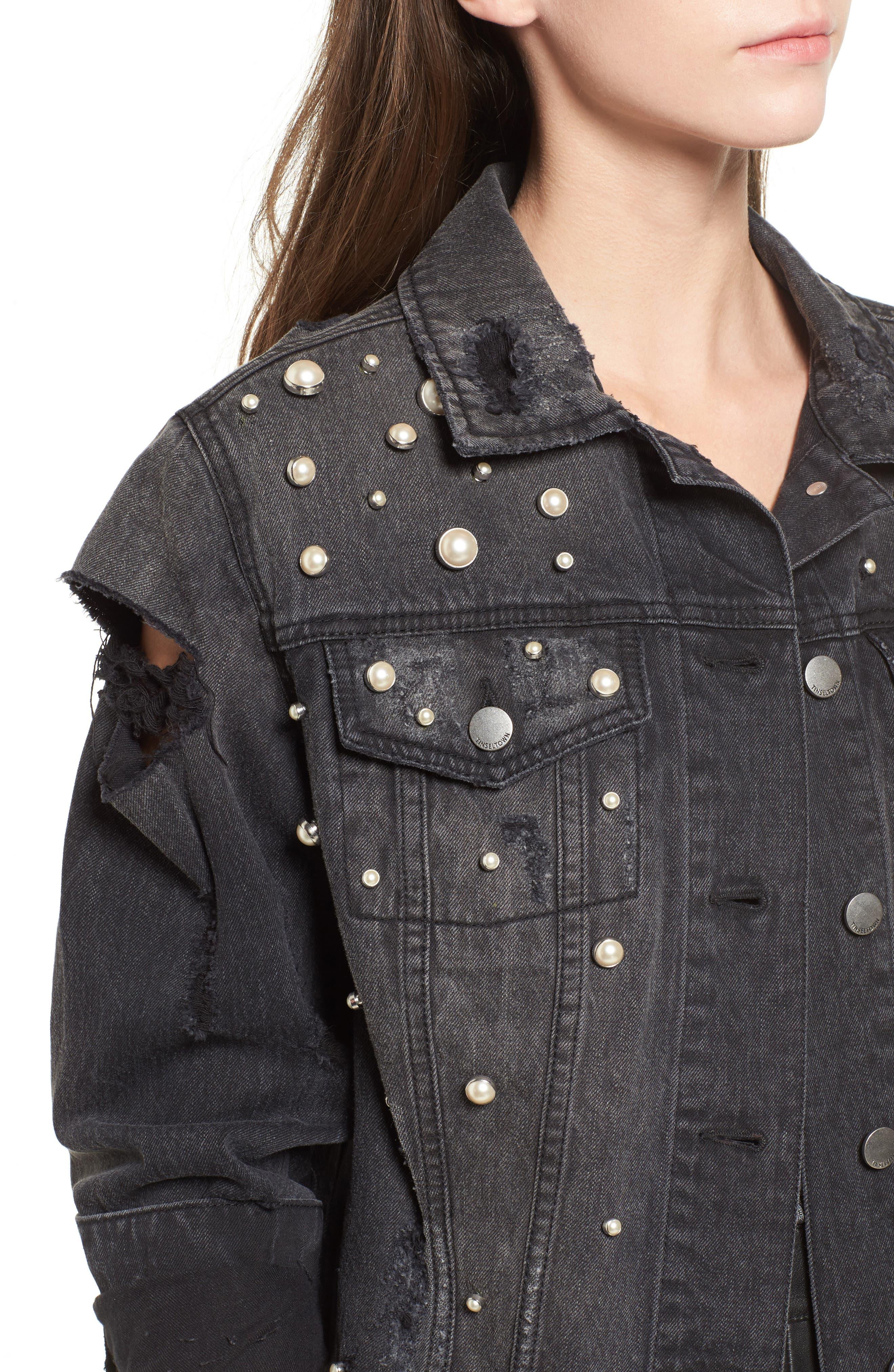 Imitation Pearl Detail Boyfriend Denim Jacket,                             Alternate thumbnail 4, color,                             Stone Wash
