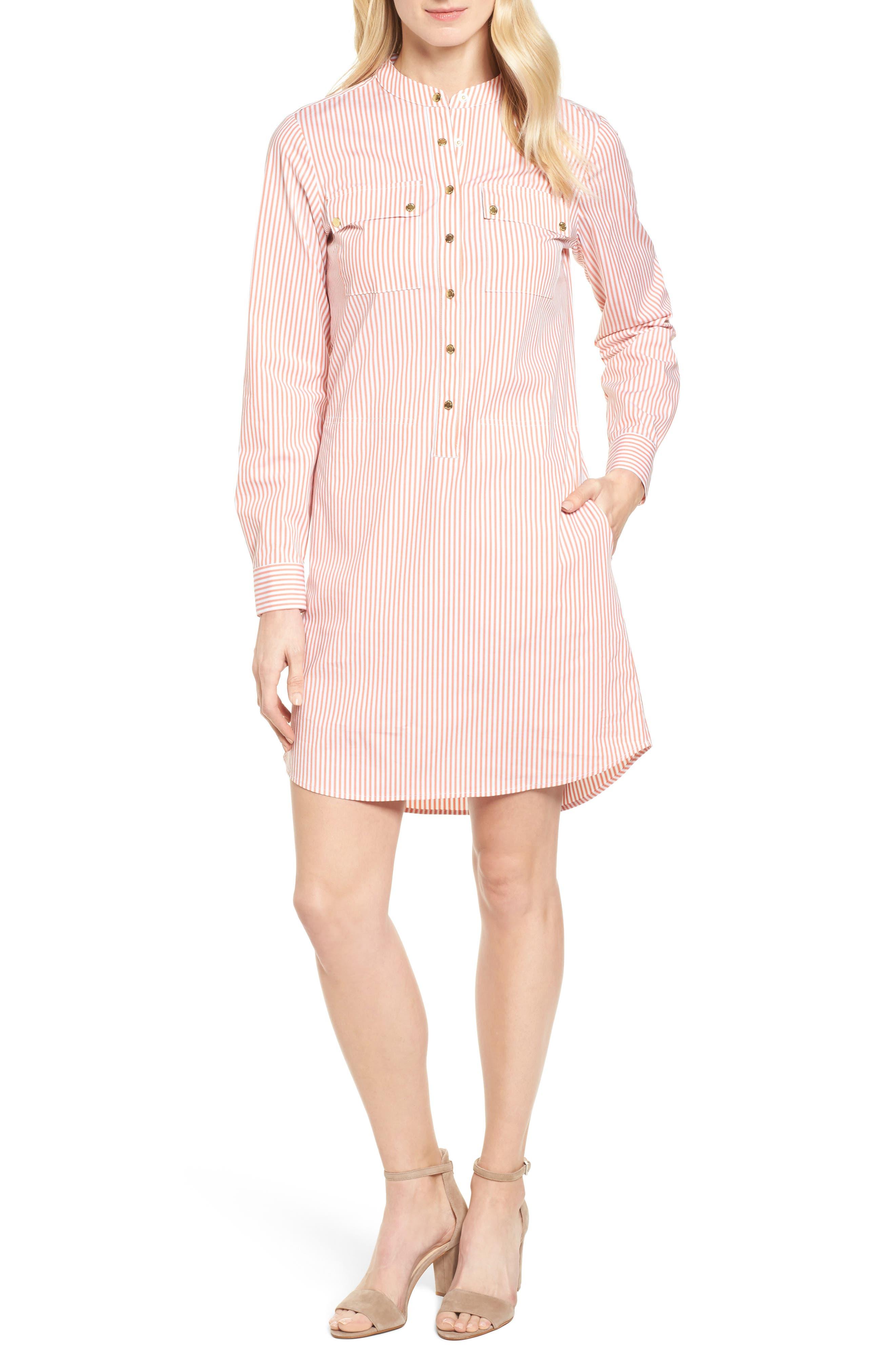 Stripe Button Down Shirtdress,                             Main thumbnail 1, color,                             Poppy