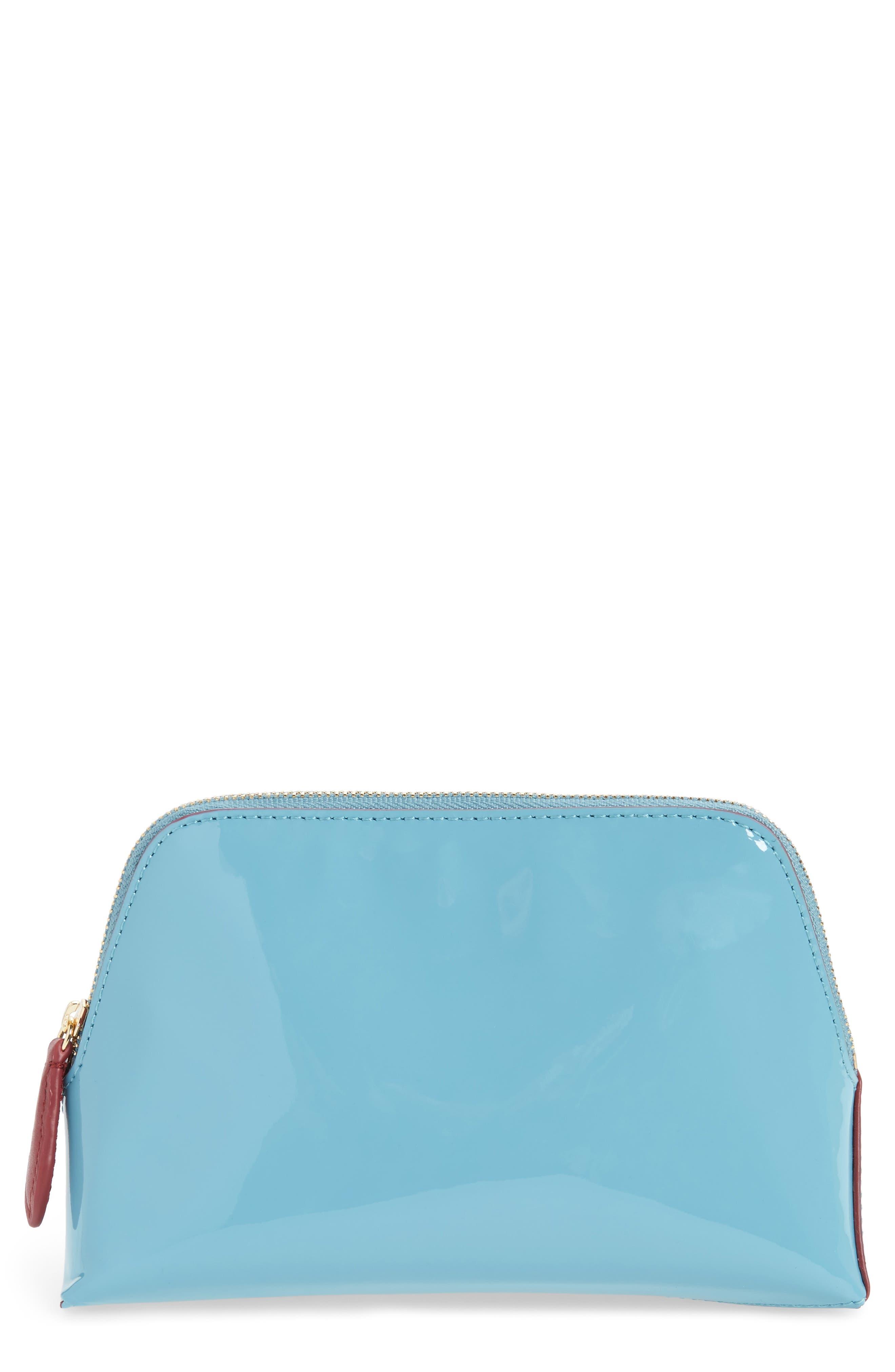 Leather Cosmetics Pouch,                         Main,                         color, Aqua