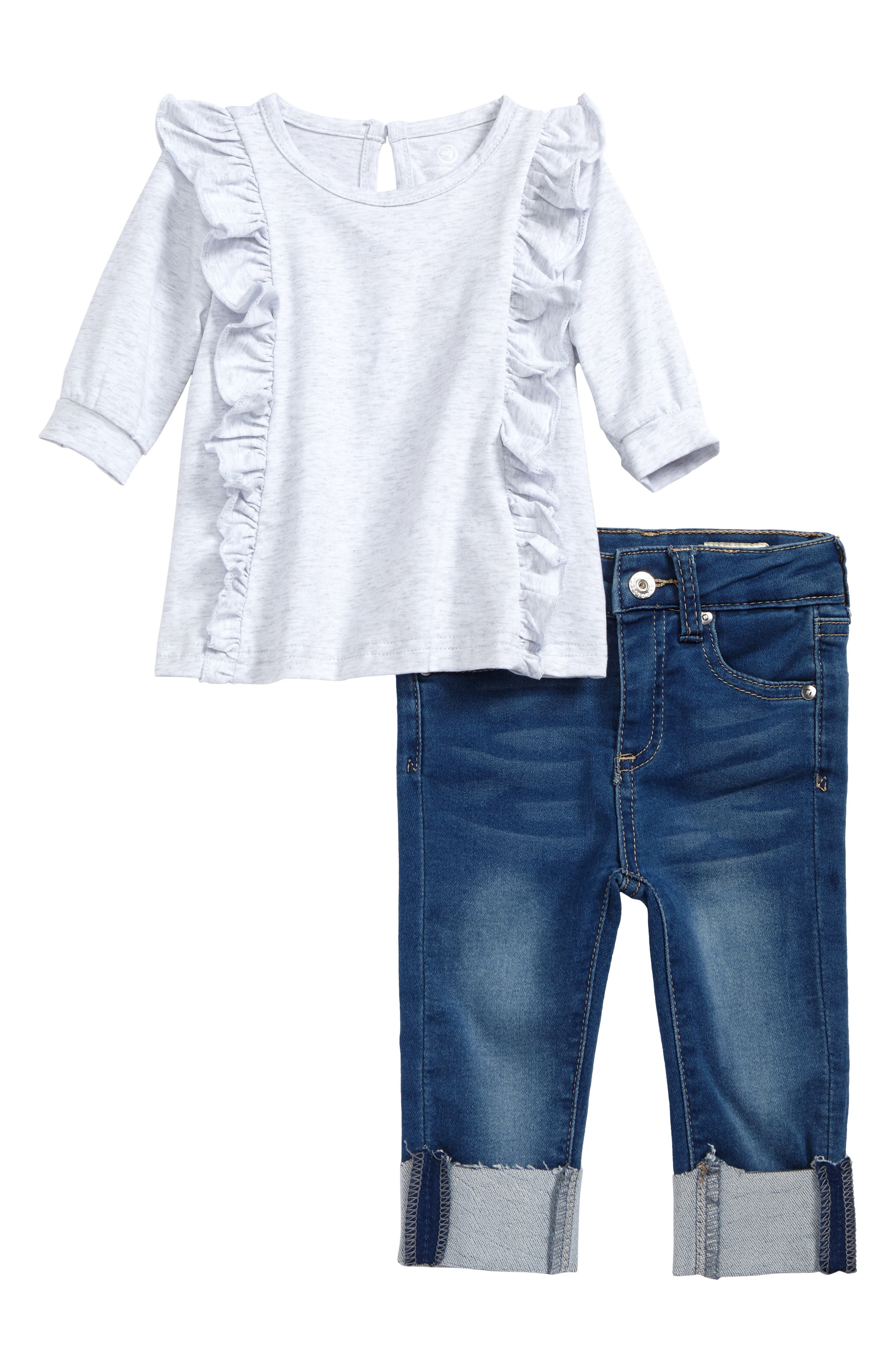 ag adriano goldschmied kids Ruffle Top & Jeans Set (Baby Girls)