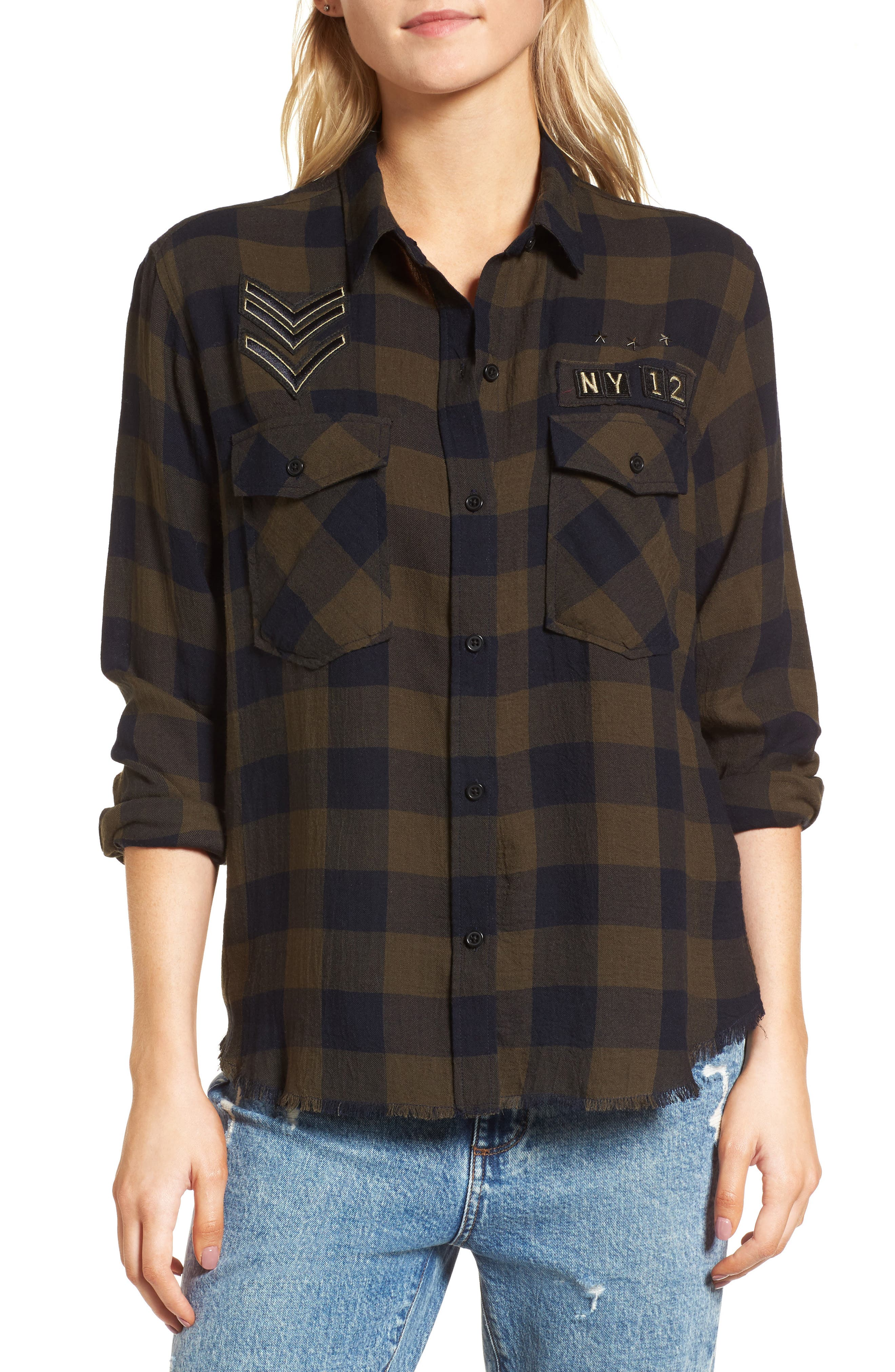 Pepper Boyfriend Shirt,                         Main,                         color, Juniper/ Black