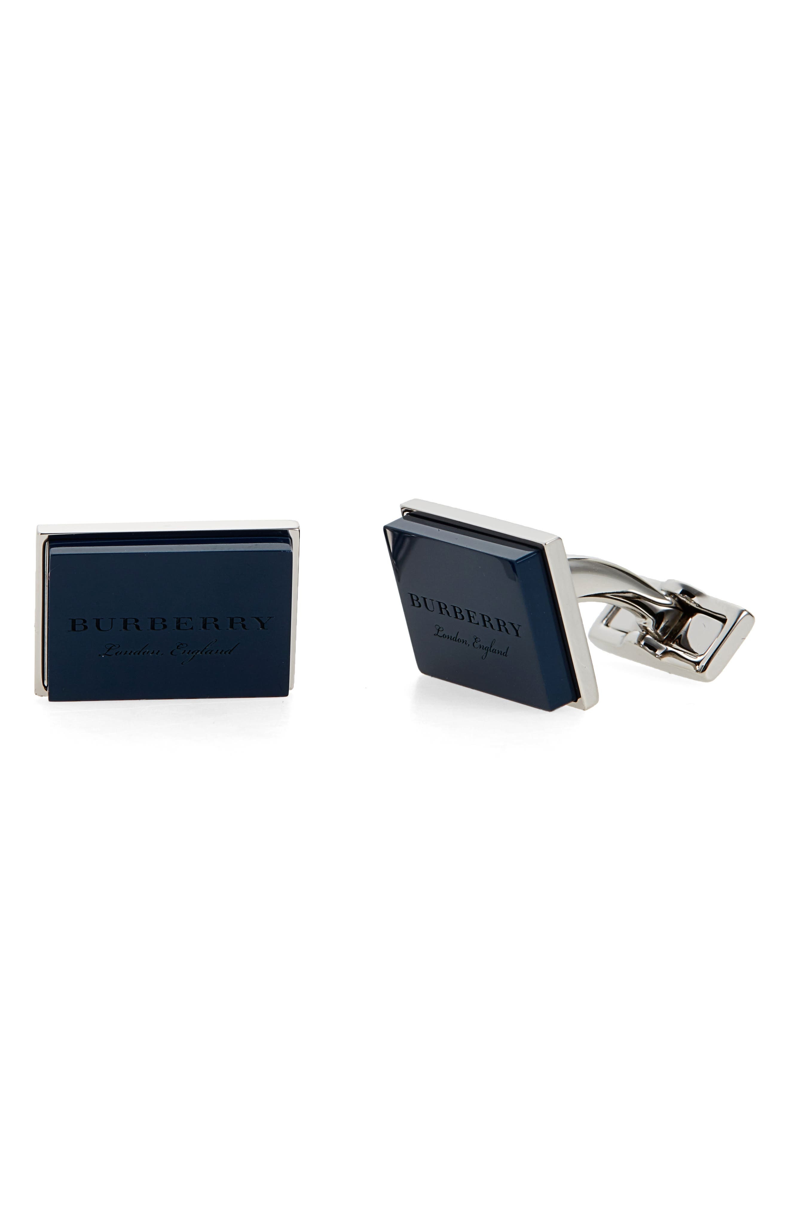 Buberry London England Square Cuff Links,                             Main thumbnail 1, color,                             Regency Blue