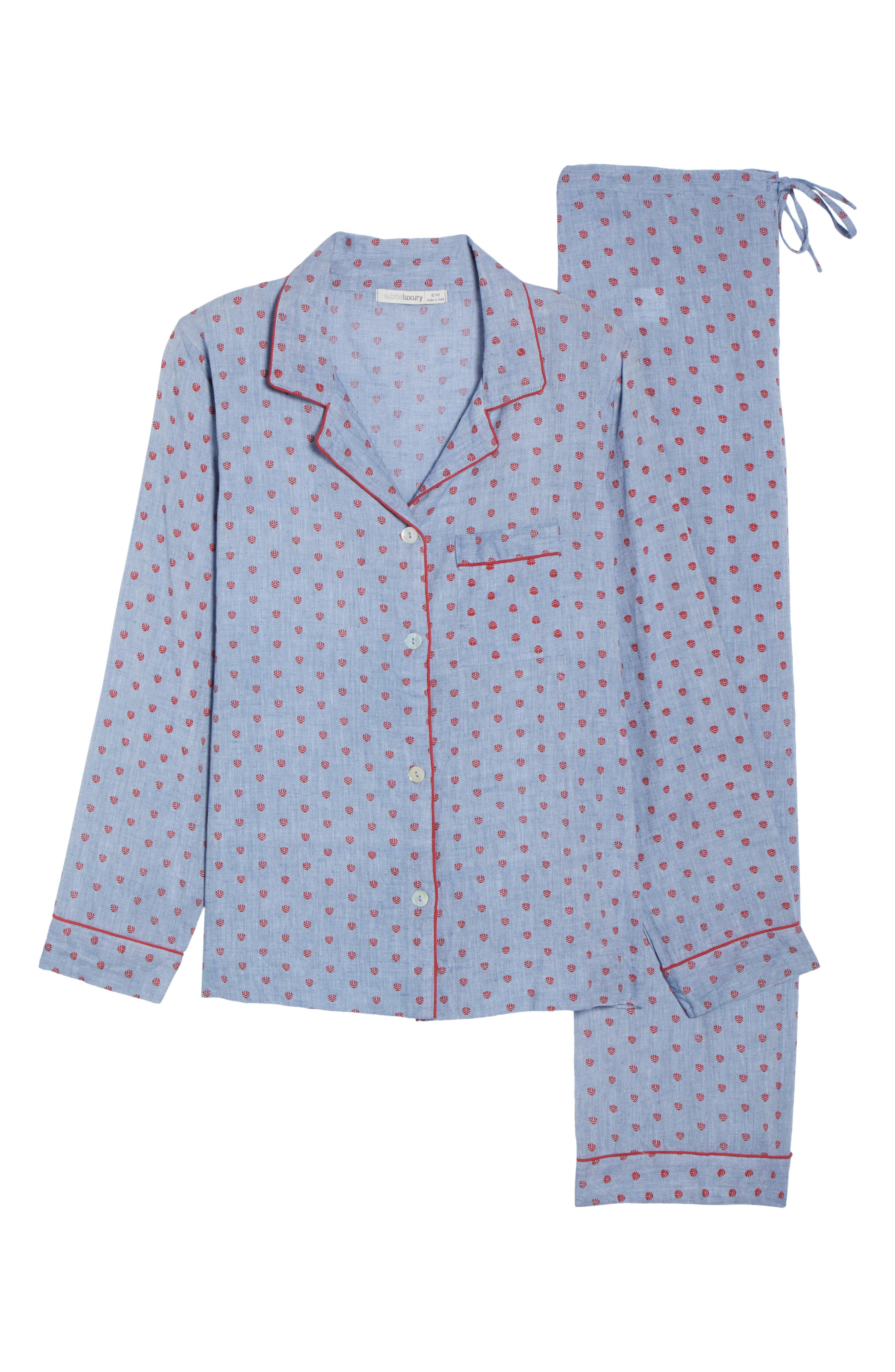 Washed Cotton Pajamas,                             Alternate thumbnail 6, color,                             Rb-Denim