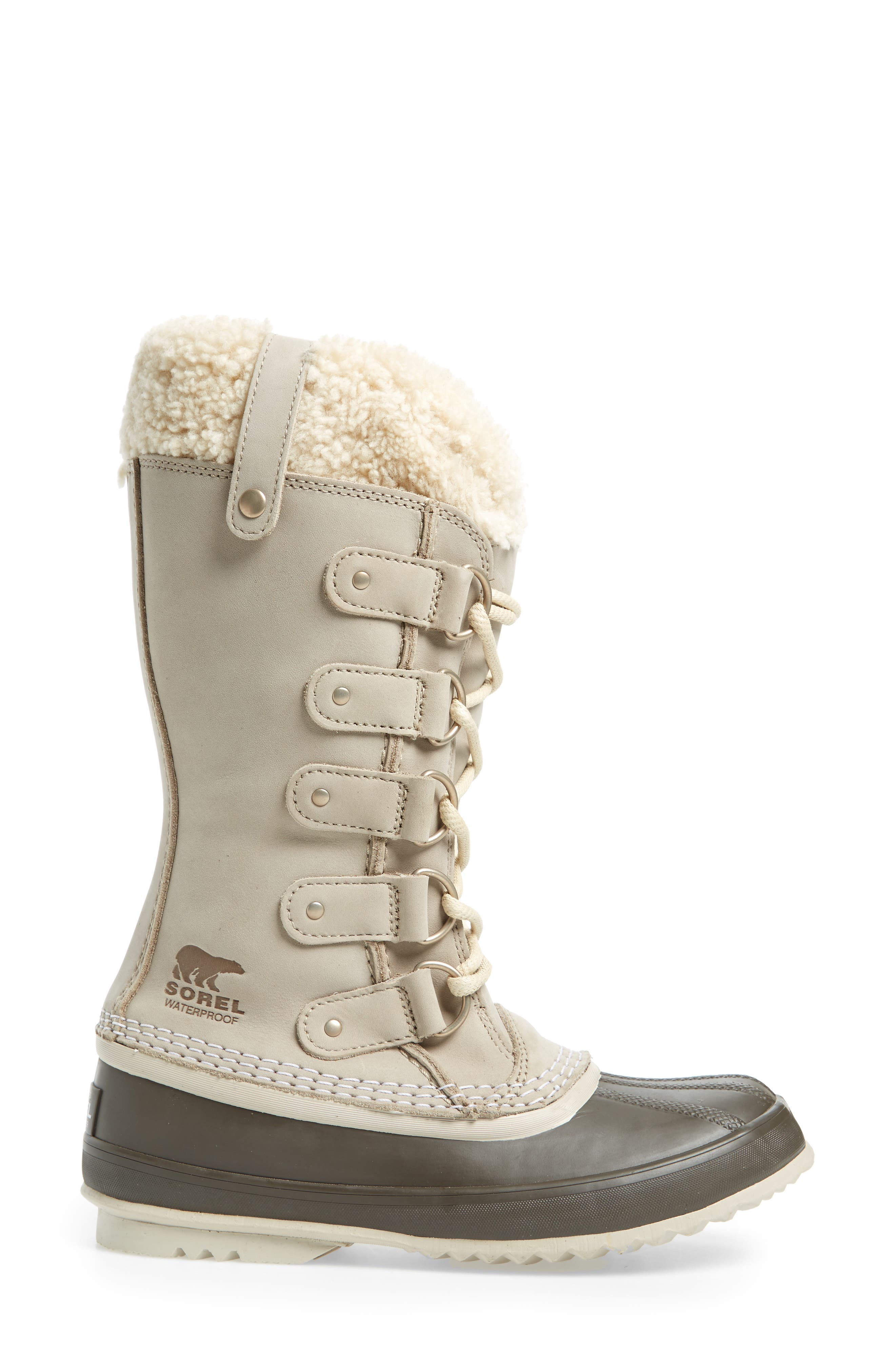 Joan of Arctic<sup>™</sup> Lux Waterproof Winter Boot with Genuine  Shearling Cuff,                             Alternate thumbnail 3, color,                             Ancient Fossil/ Mud