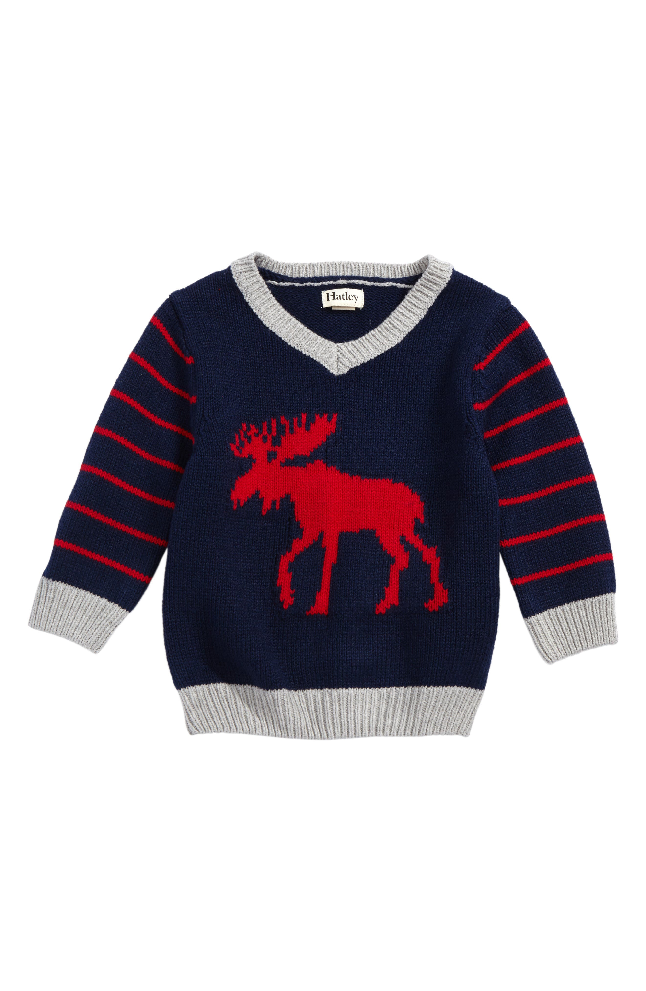 Hatley Moose Intarsia V-Neck Sweater (Baby Boys)