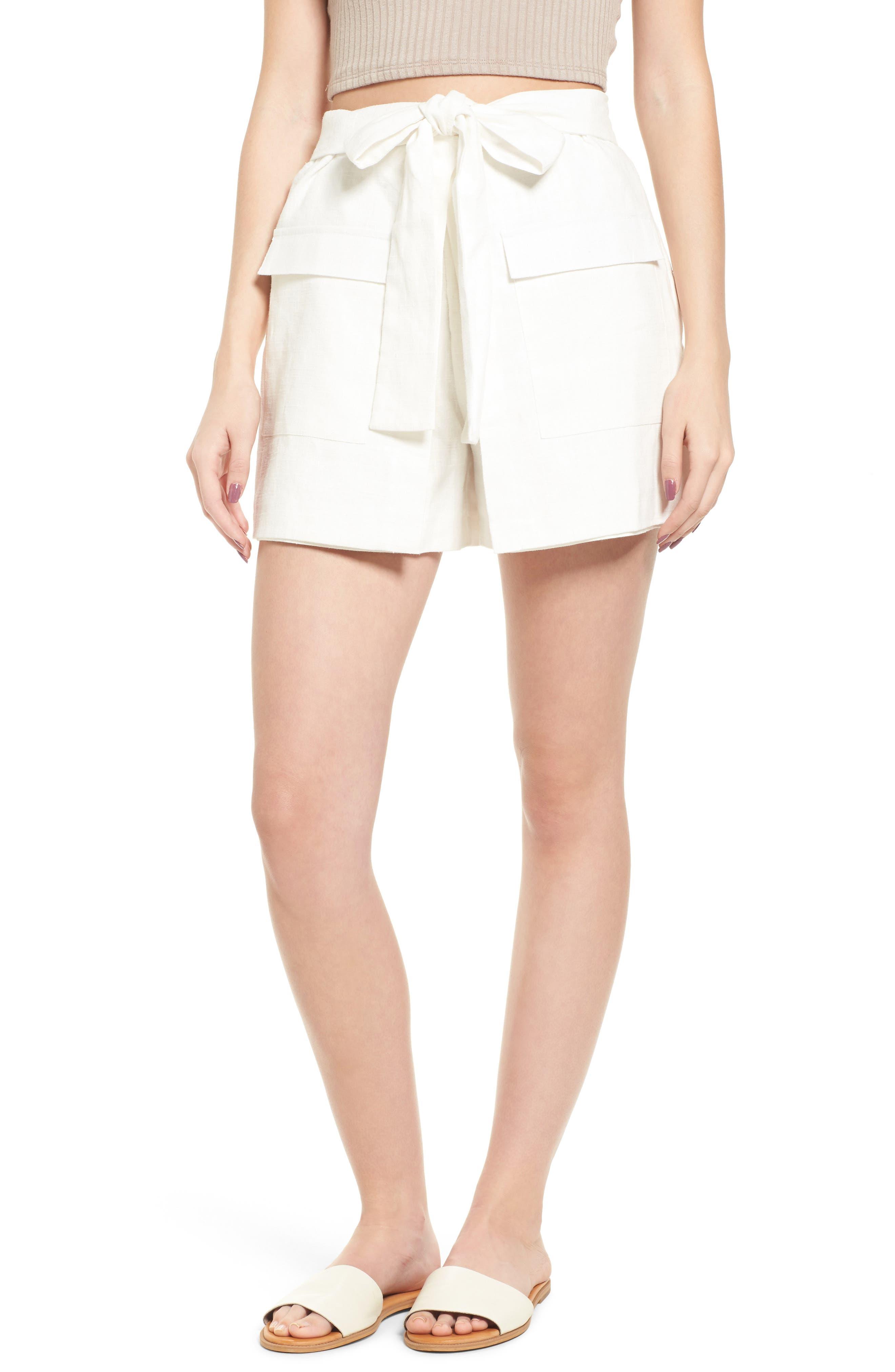 Tie Front Linen & Cotton Skort,                             Main thumbnail 1, color,                             White