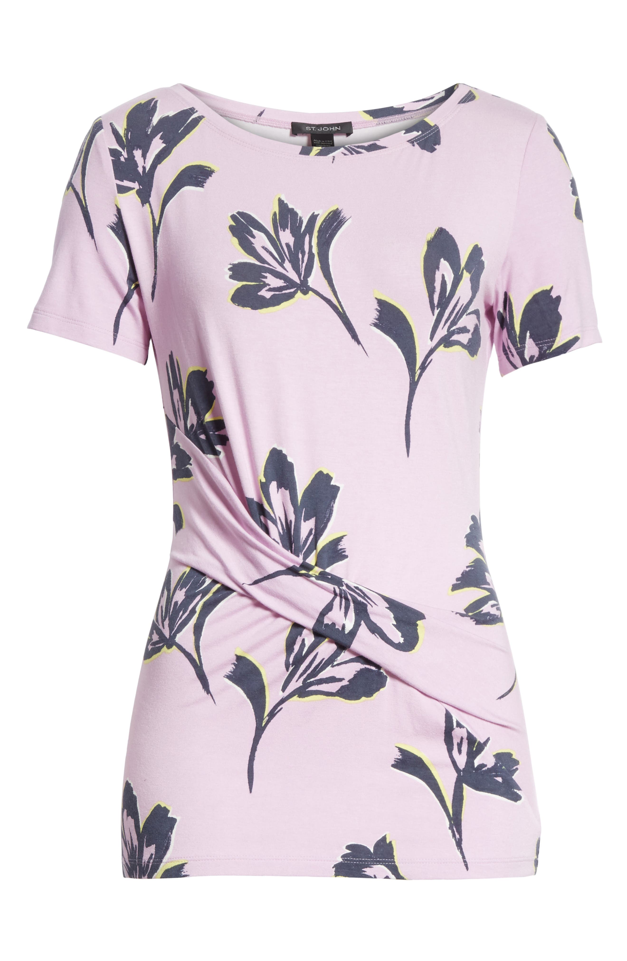 Falling Flower Print Jersey Tee,                             Alternate thumbnail 6, color,                             Orchid Multi