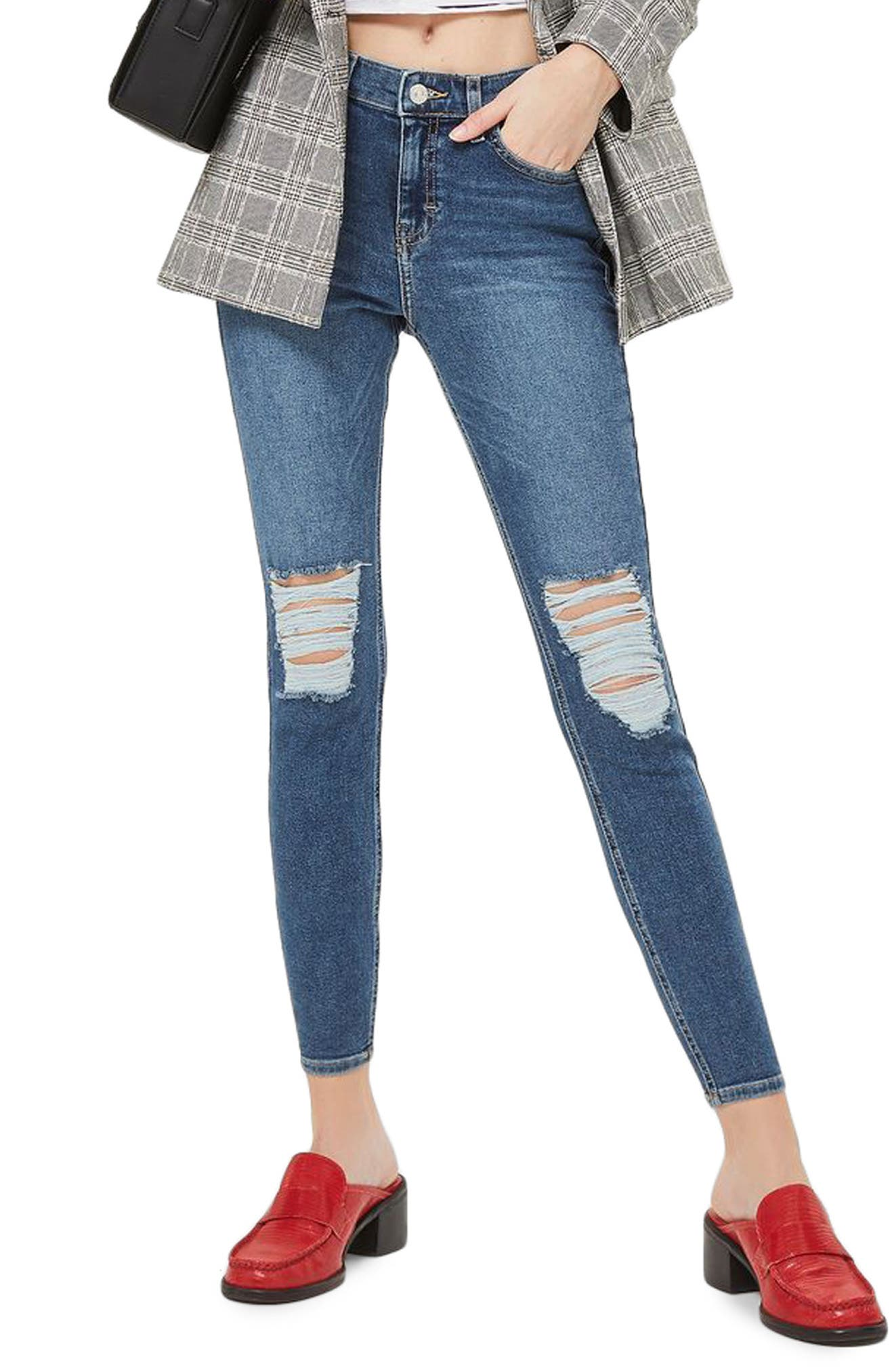 Jamie High Waist Skinny Jeans,                             Main thumbnail 1, color,                             Mid Denim