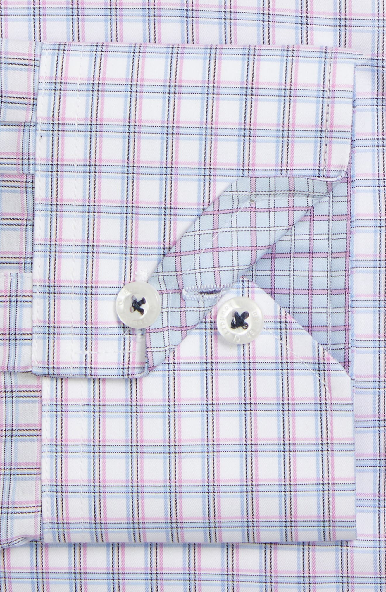 Trim Fit Check Dress Shirt,                             Alternate thumbnail 2, color,                             Purple