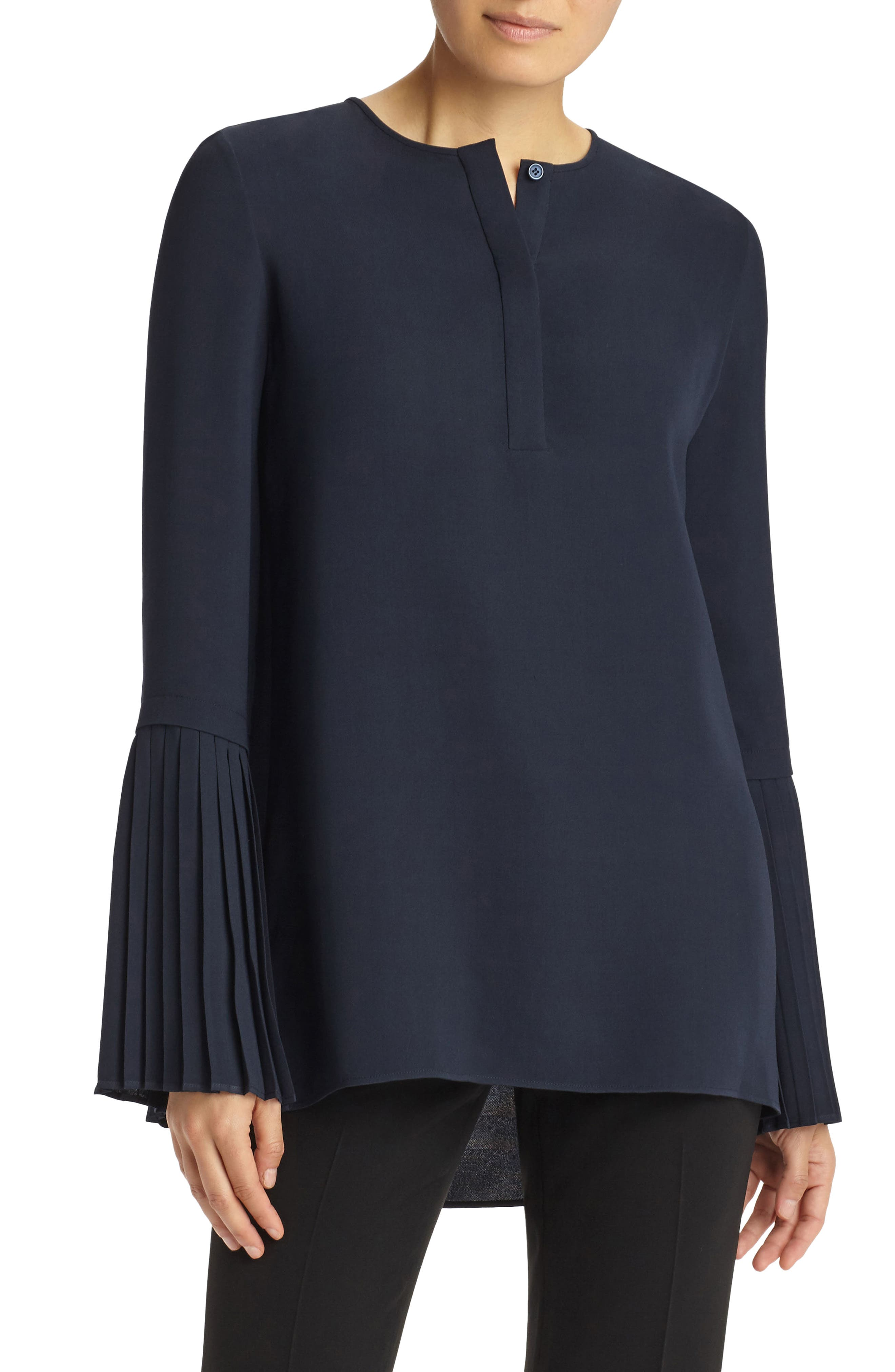 Shellie Pleated Sleeve Blouse,                             Main thumbnail 1, color,                             Ink