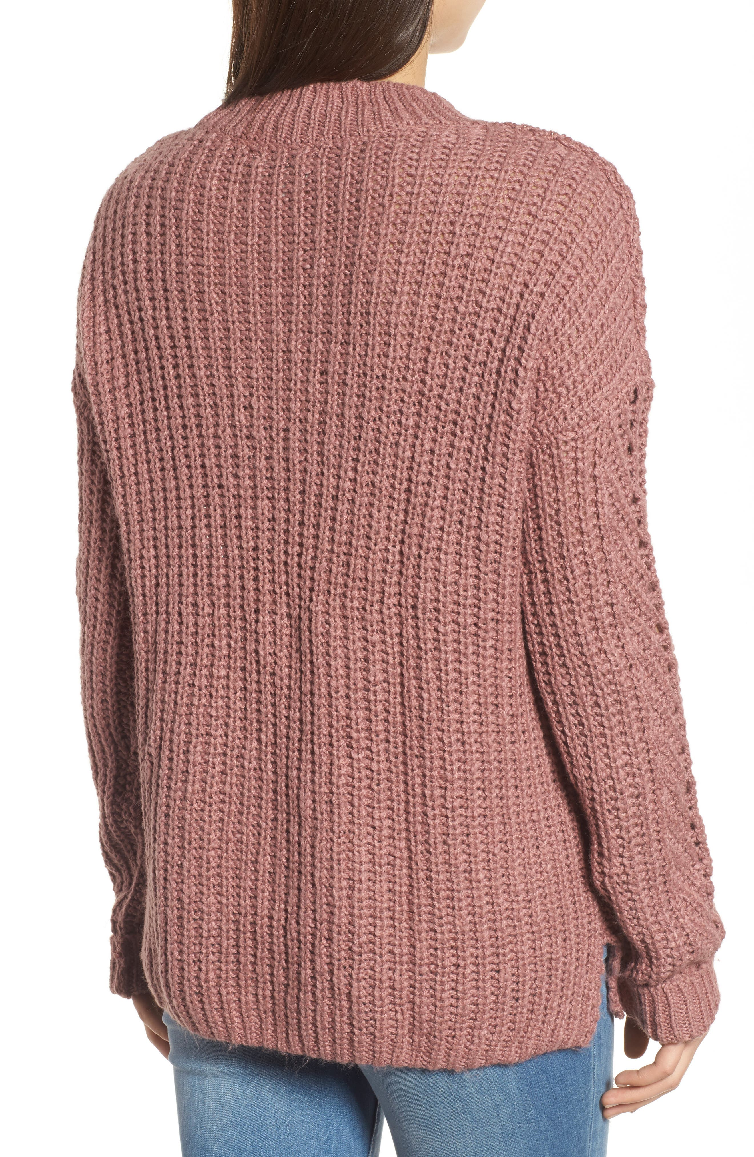 Open Stitch Sweater,                             Alternate thumbnail 2, color,                             Dusty Pink