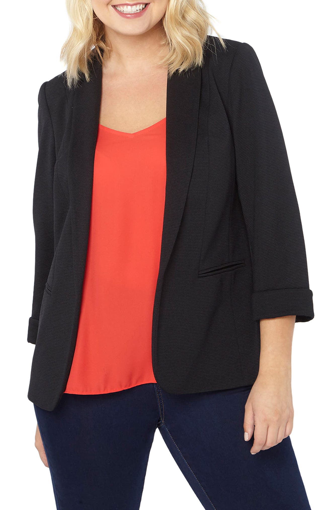 Ribbed Knit Blazer,                         Main,                         color, Black