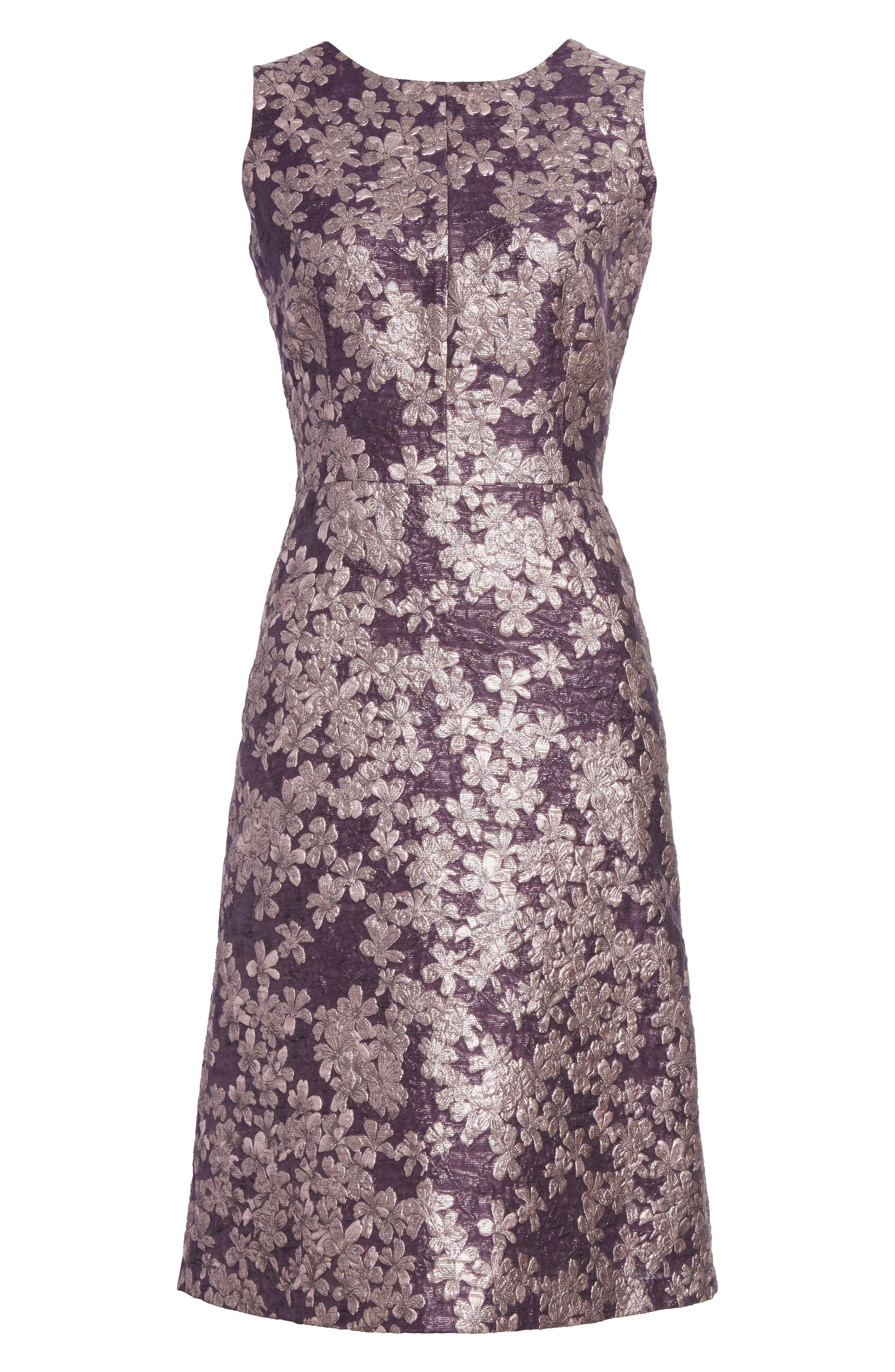Metallic Floral Jacquard Dress,                             Alternate thumbnail 7, color,                             Orchid Multi