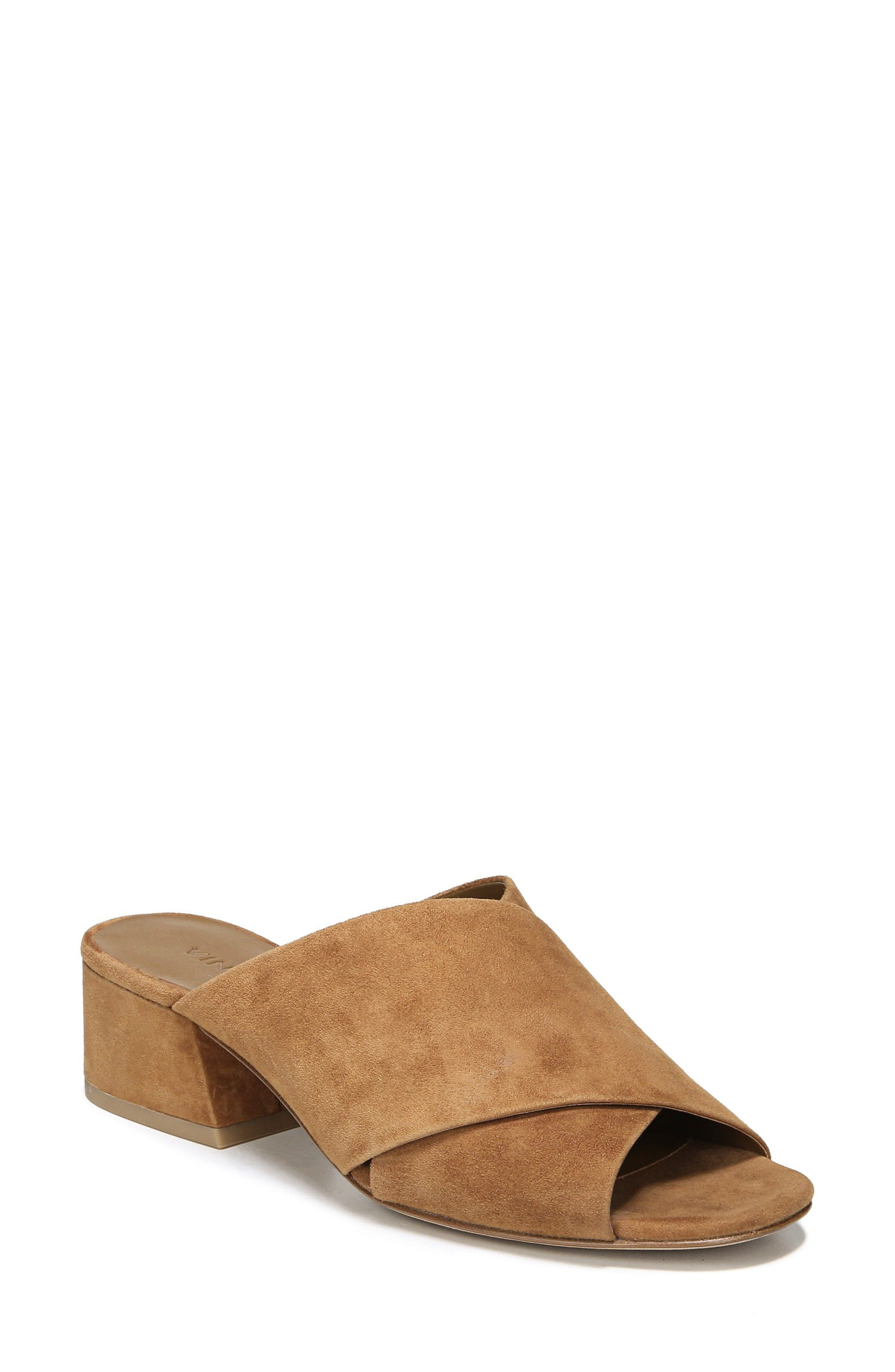 1995957b0f6 Vince Women S Karsen Suede Block Heel Slide Sandals In Tan