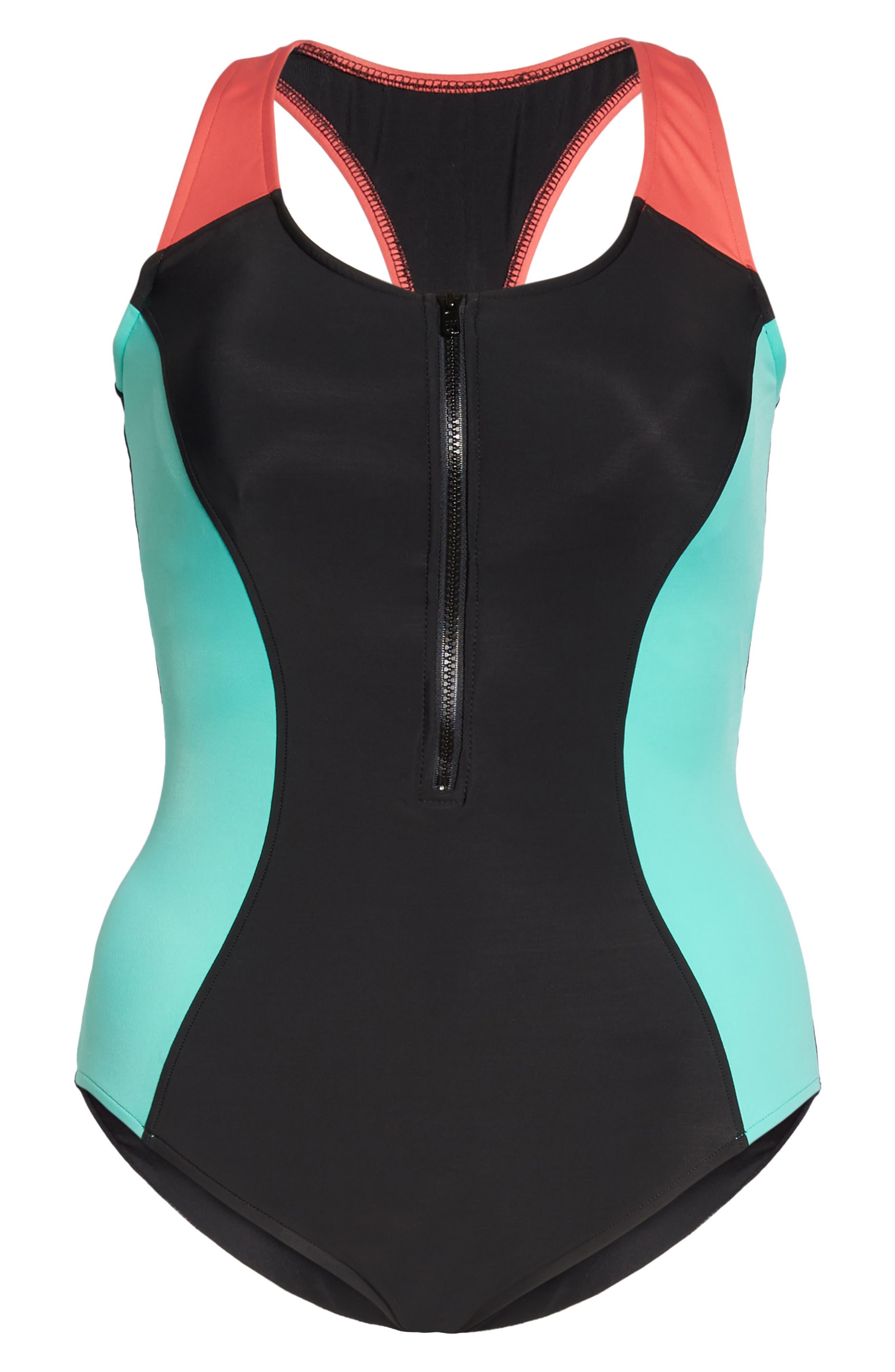 Dive In Nikki One-Piece Swimsuit,                             Alternate thumbnail 6, color,                             Black Multi