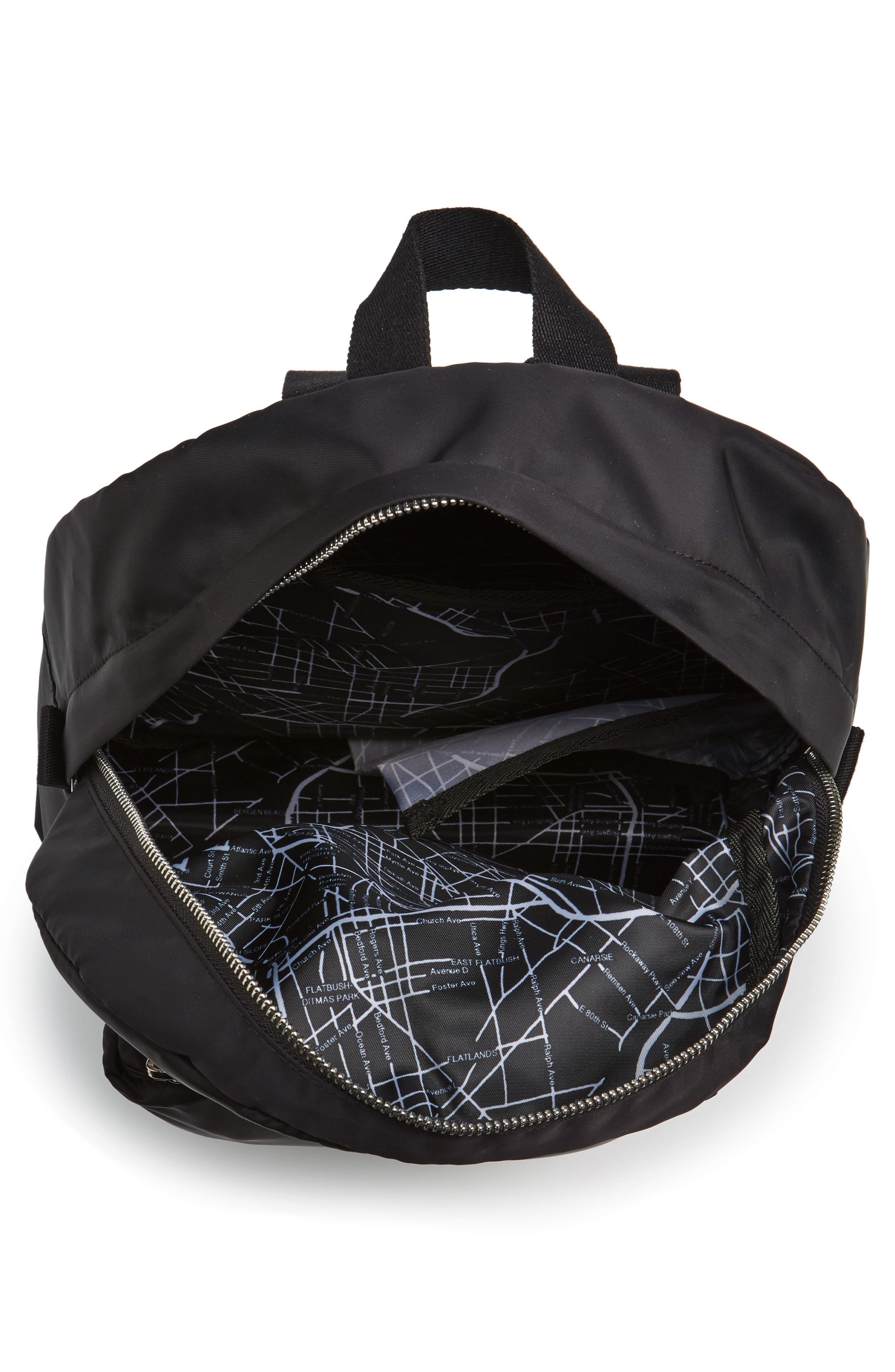 The Heights Mini Lorimer Nylon Backpack,                             Alternate thumbnail 4, color,                             Black