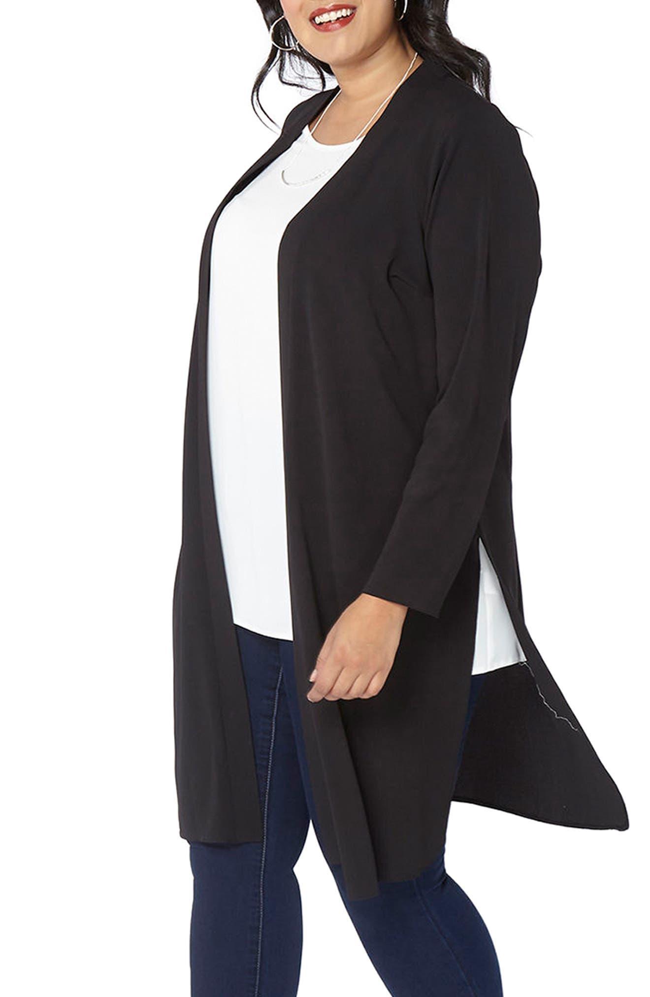 Alternate Image 3  - Evans Long Jacket (Plus Size)