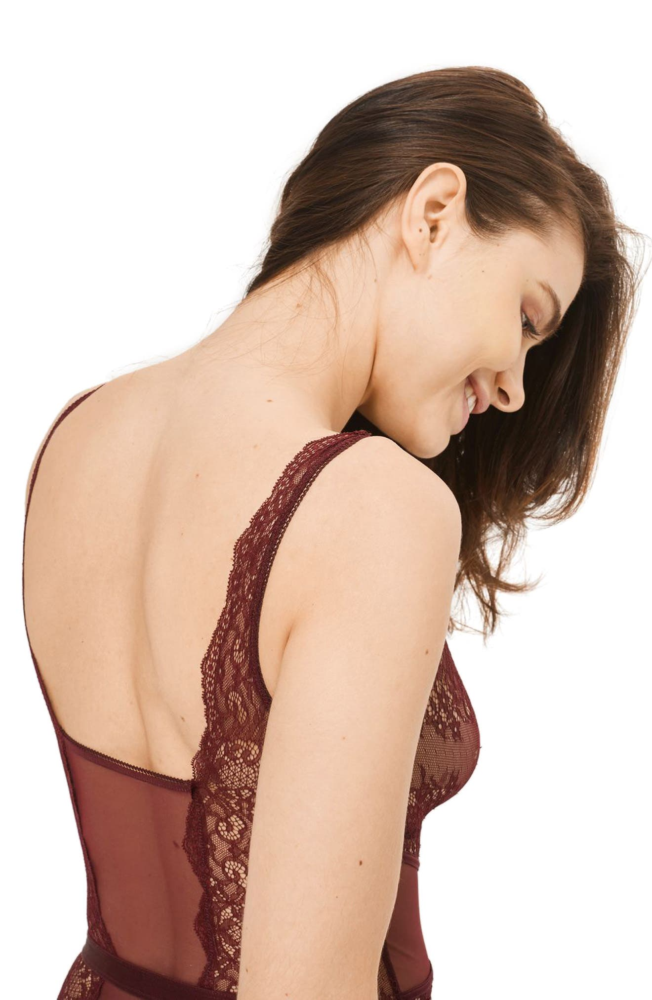 Lace Bodysuit,                             Alternate thumbnail 2, color,                             Berry