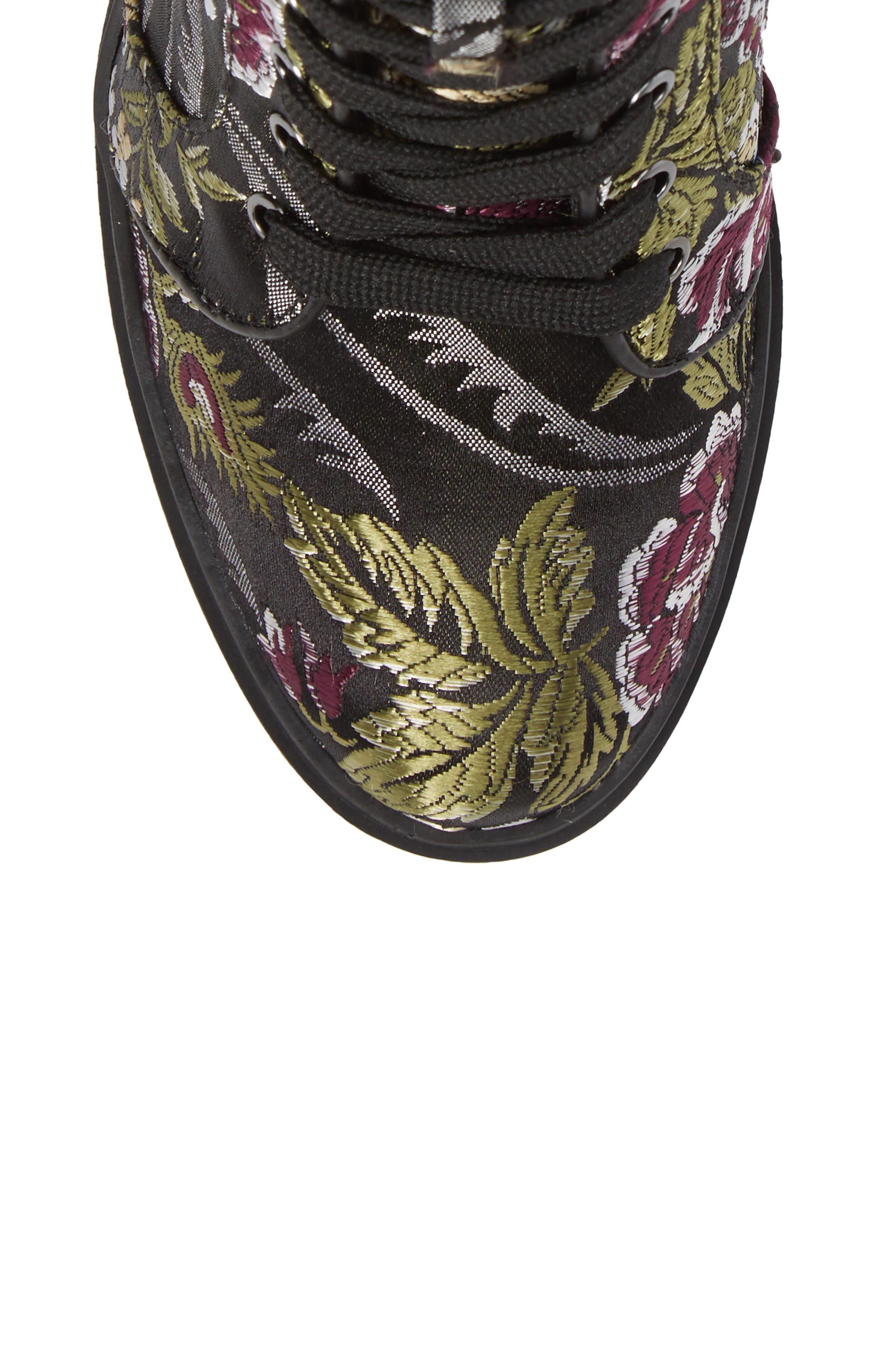 Laurie Platform Bootie,                             Alternate thumbnail 5, color,                             Black Floral Fabric
