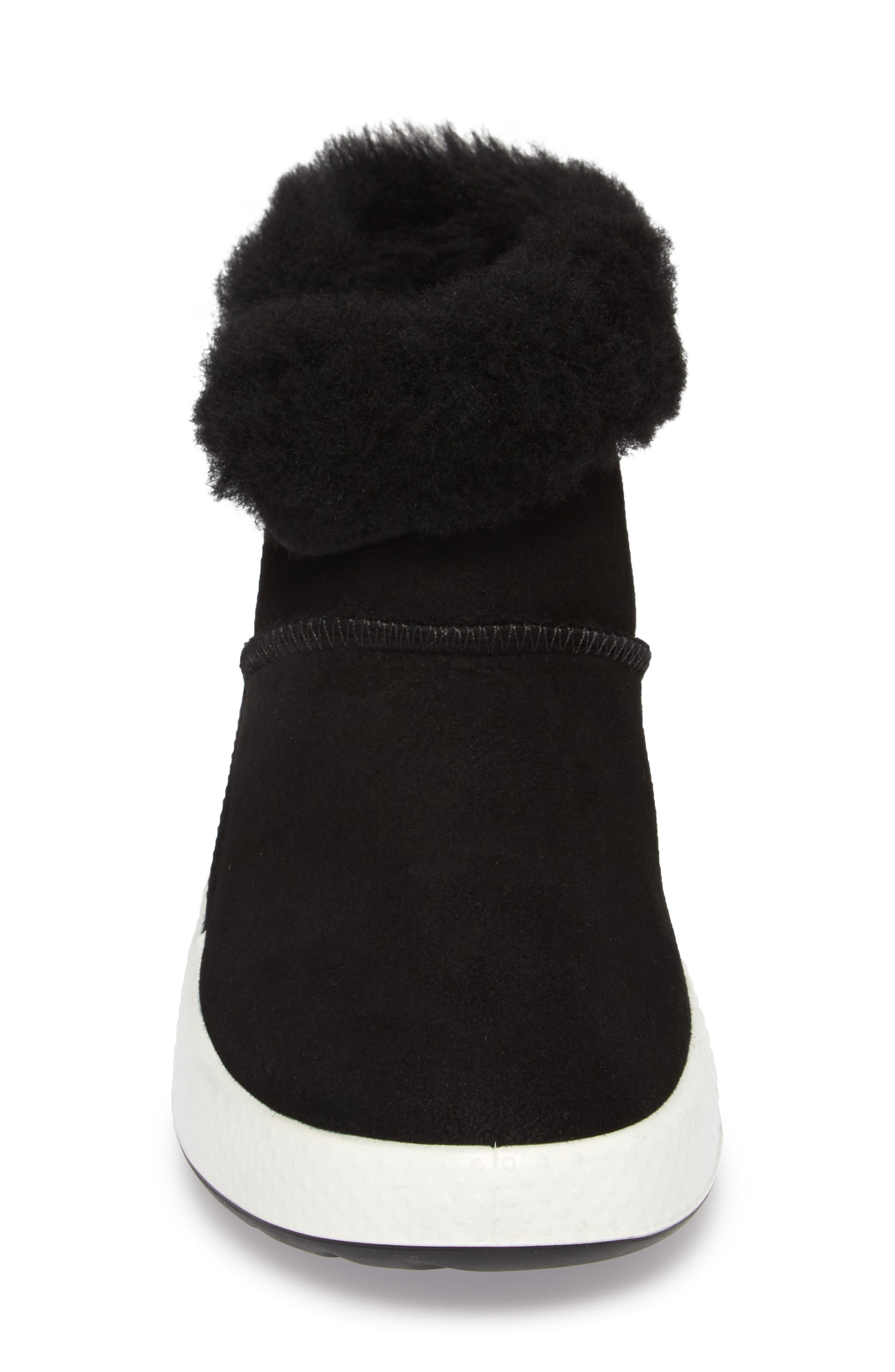 Ukiuk Genuine Shearling Boot,                             Alternate thumbnail 4, color,                             Black Leather