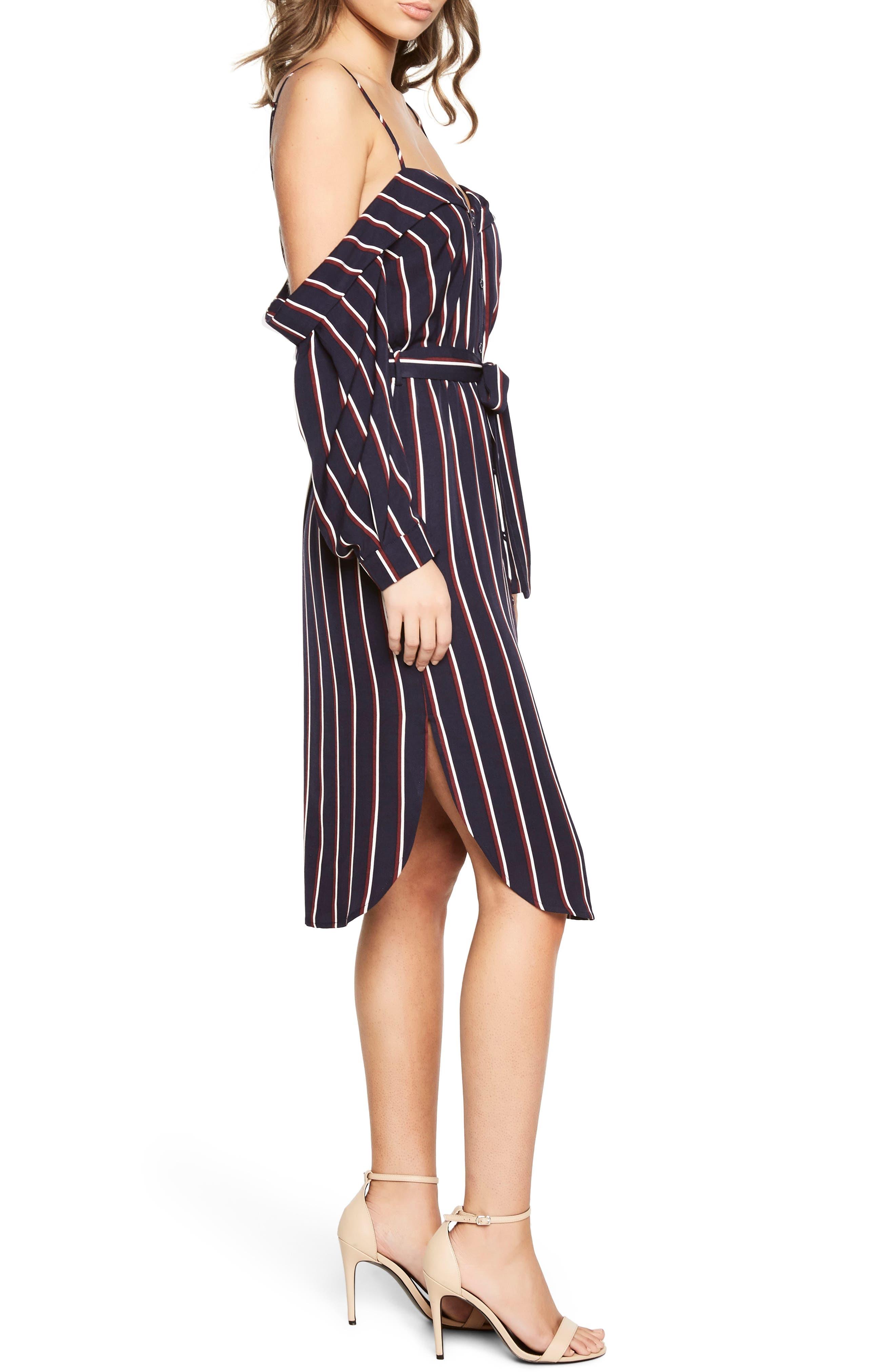 Paloma Off the Shoulder Dress,                             Alternate thumbnail 3, color,                             Navy Stripe