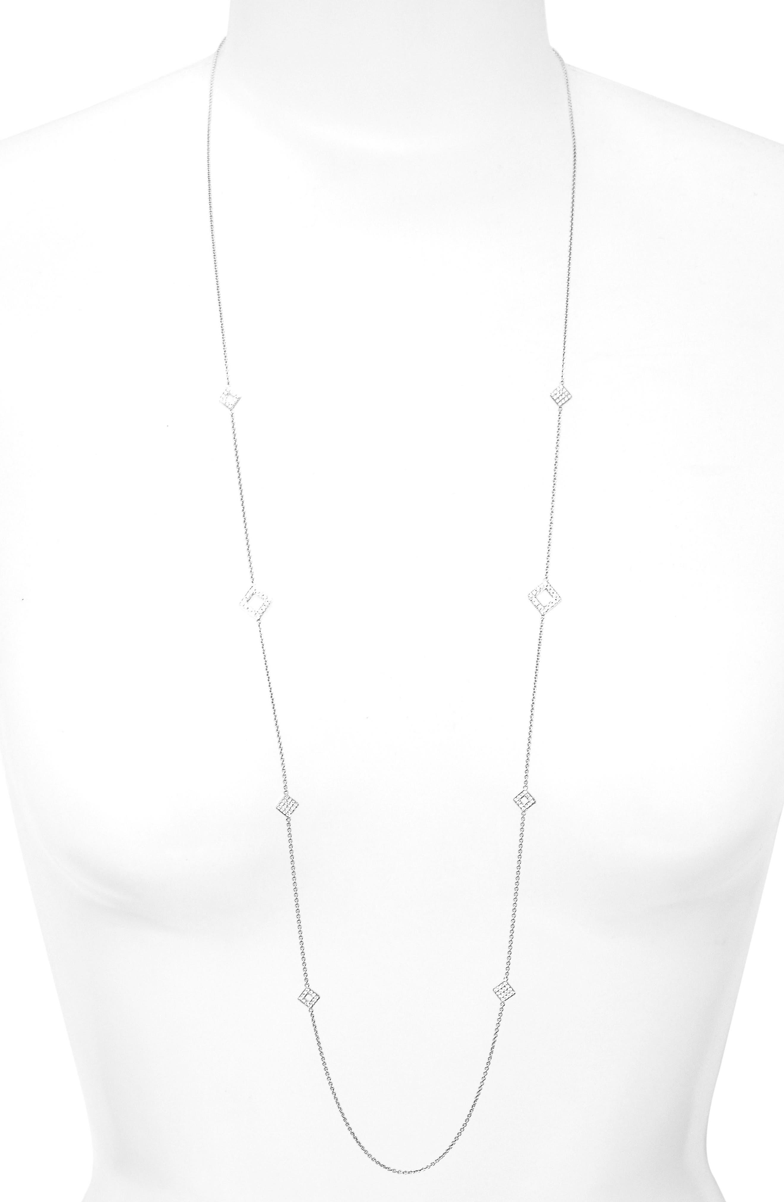 Long Diamond Station Necklace,                             Main thumbnail 1, color,                             White Gold