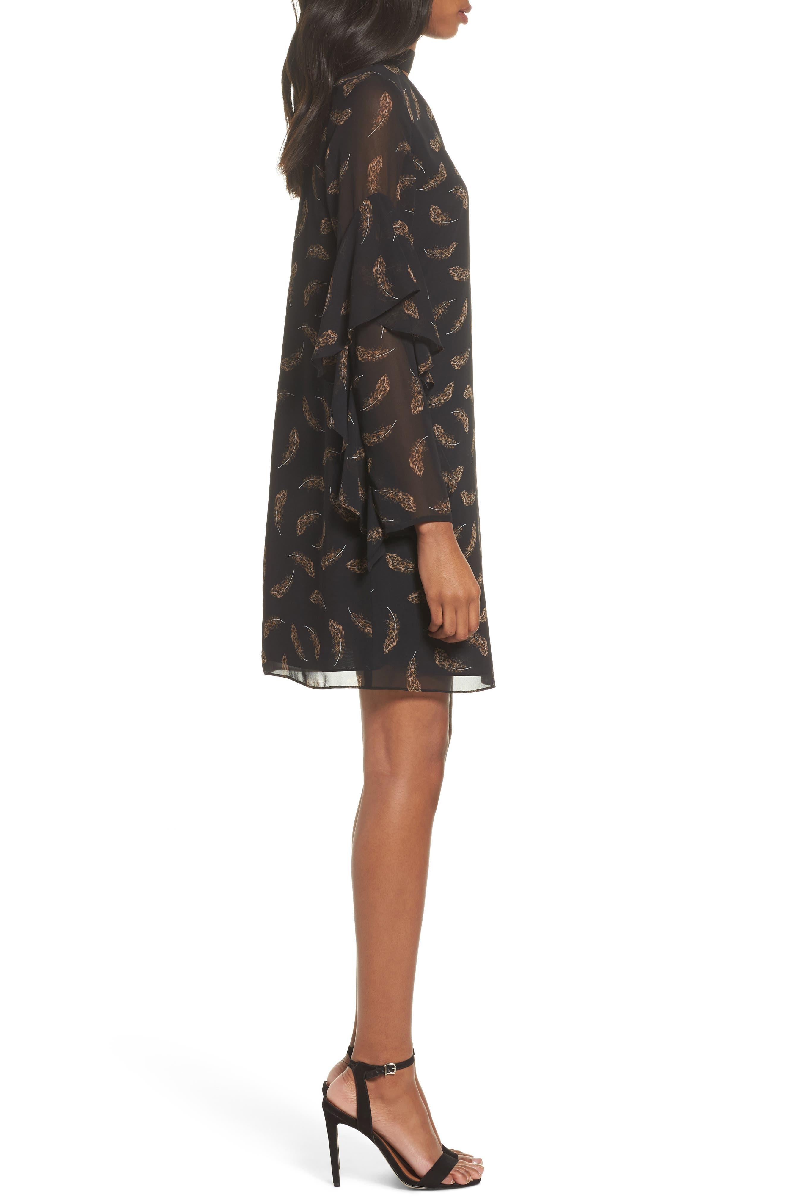 Feather Print Choker Collar Dress,                             Alternate thumbnail 3, color,                             Leopard Feather
