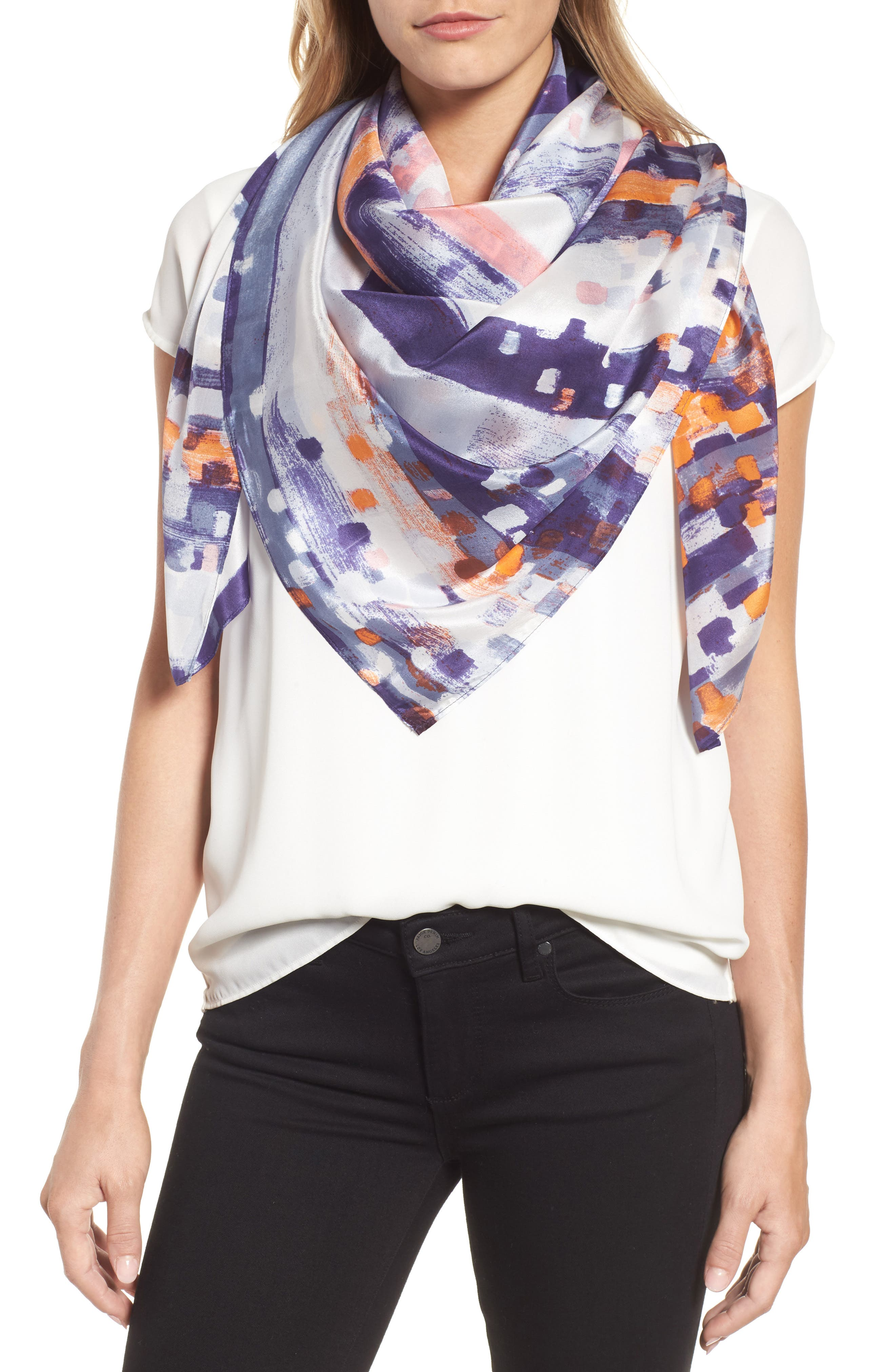 Print Silk Square Scarf,                             Main thumbnail 1, color,                             Blue Abstract Ombre Print