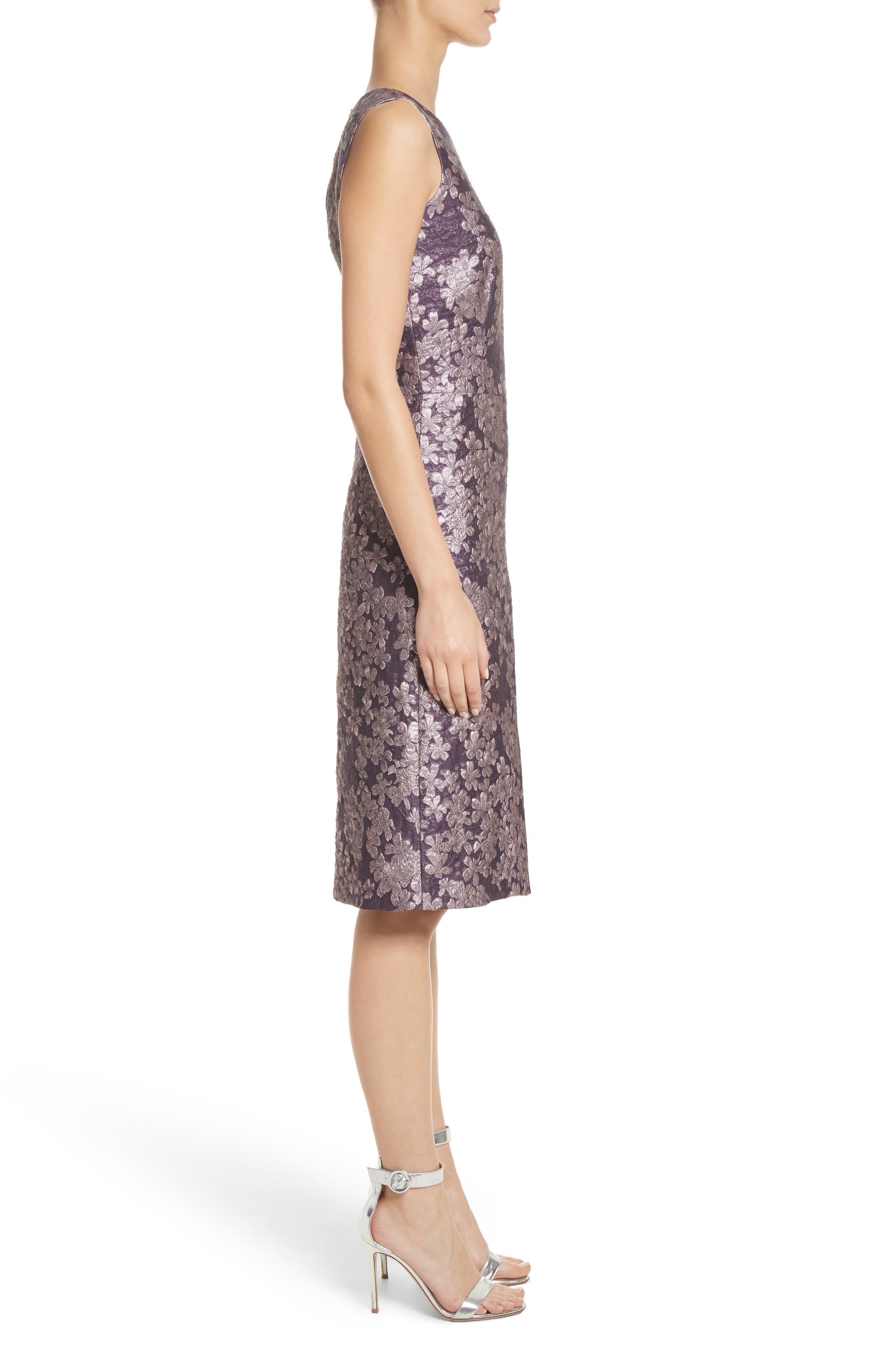 Metallic Floral Jacquard Dress,                             Alternate thumbnail 3, color,                             Orchid Multi