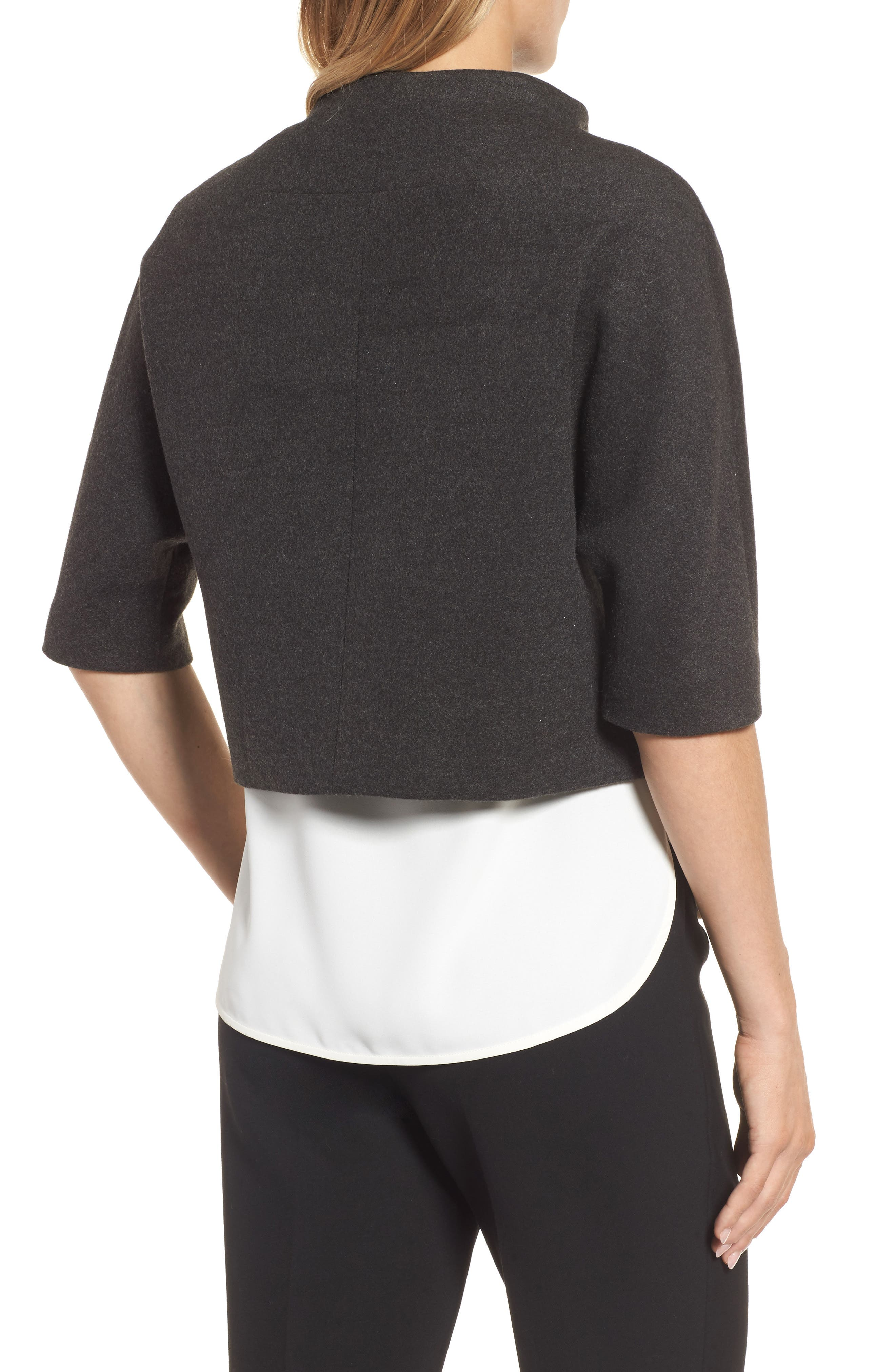 Funnel Neck Cropped Jacket,                             Alternate thumbnail 2, color,                             Heather Grey