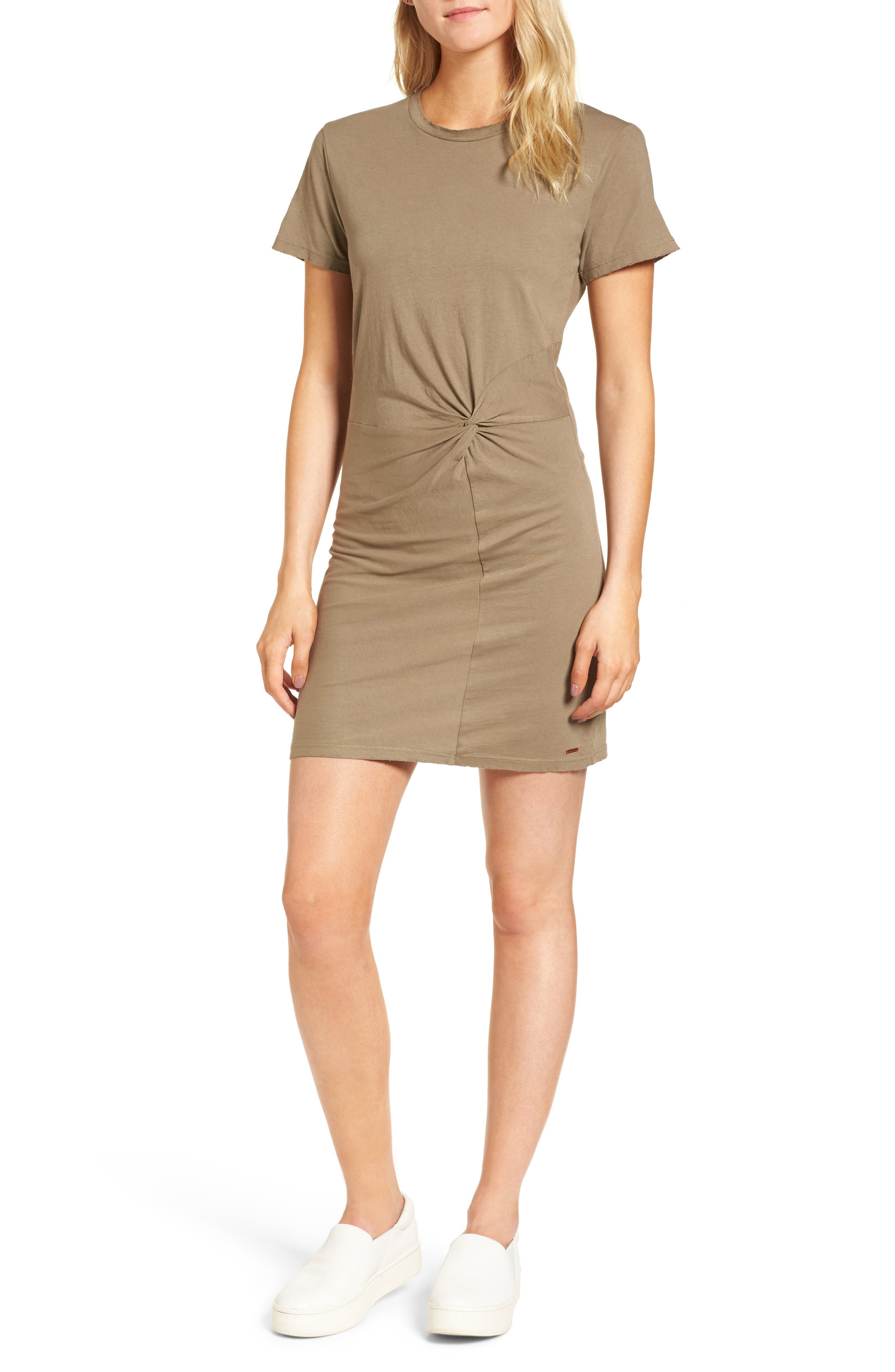 Jazz Knotted T-Shirt Dress,                             Main thumbnail 1, color,                             Army